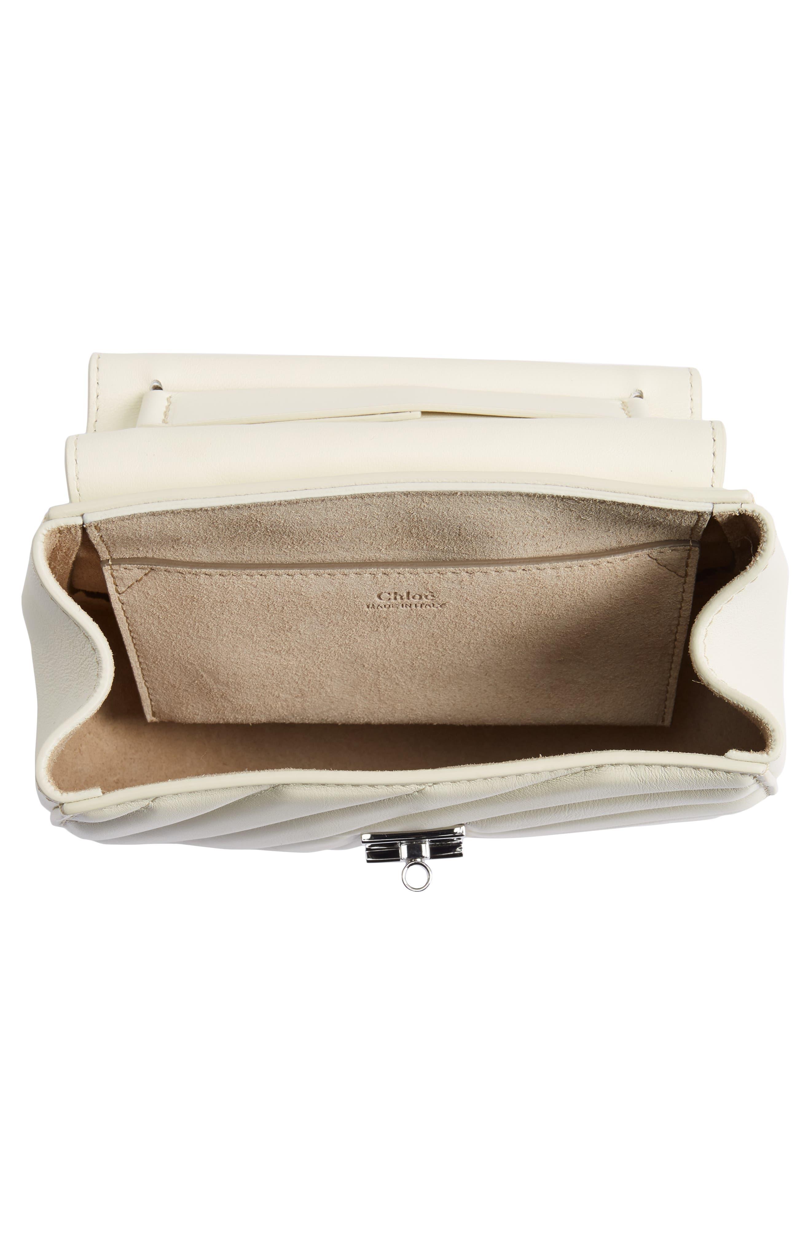 Mini Drew Bijoux Leather Shoulder Bag,                             Alternate thumbnail 8, color,                             Natural White