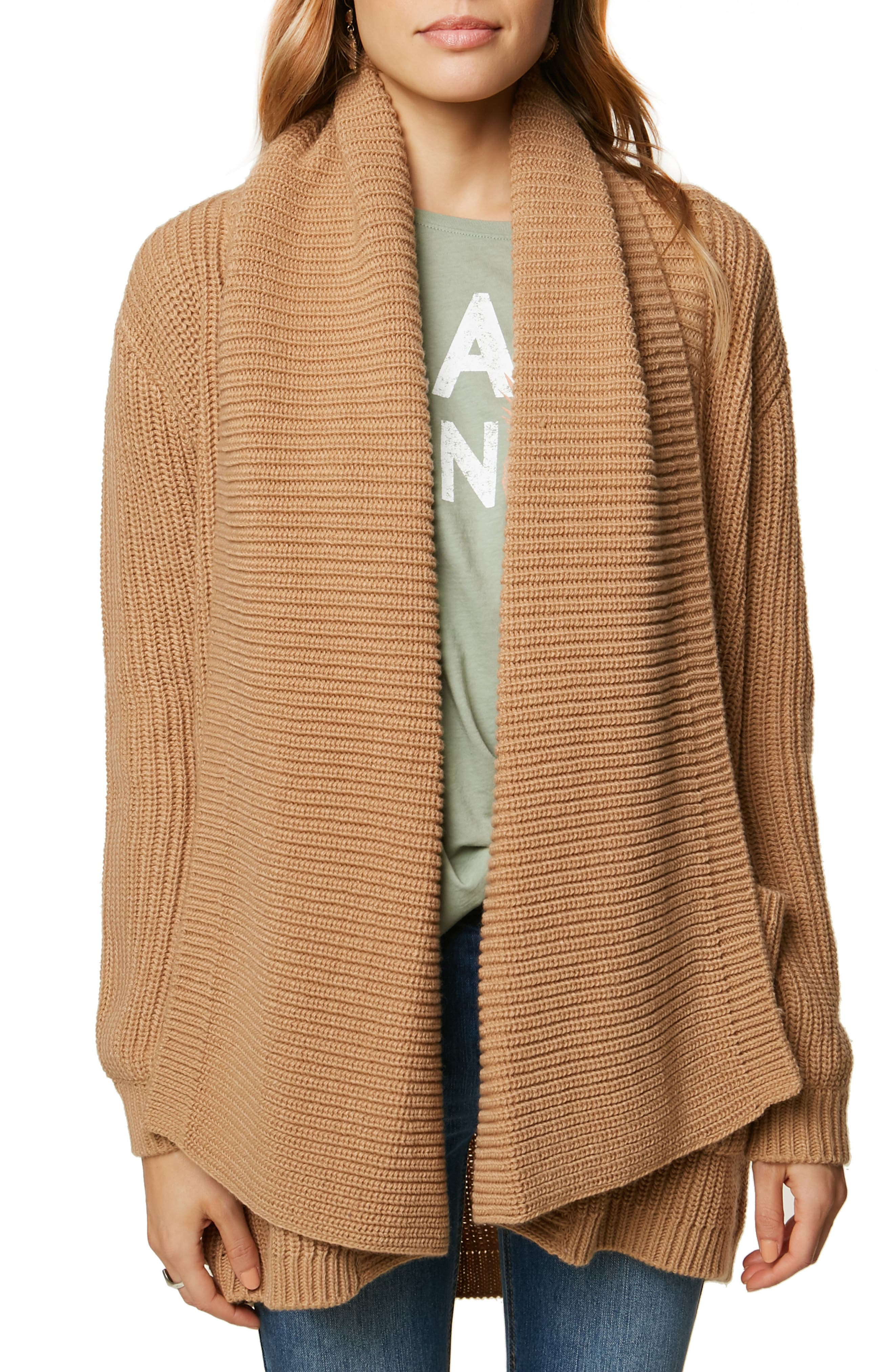 Galley Shaker Stitch Cardigan, Main, color, Camel