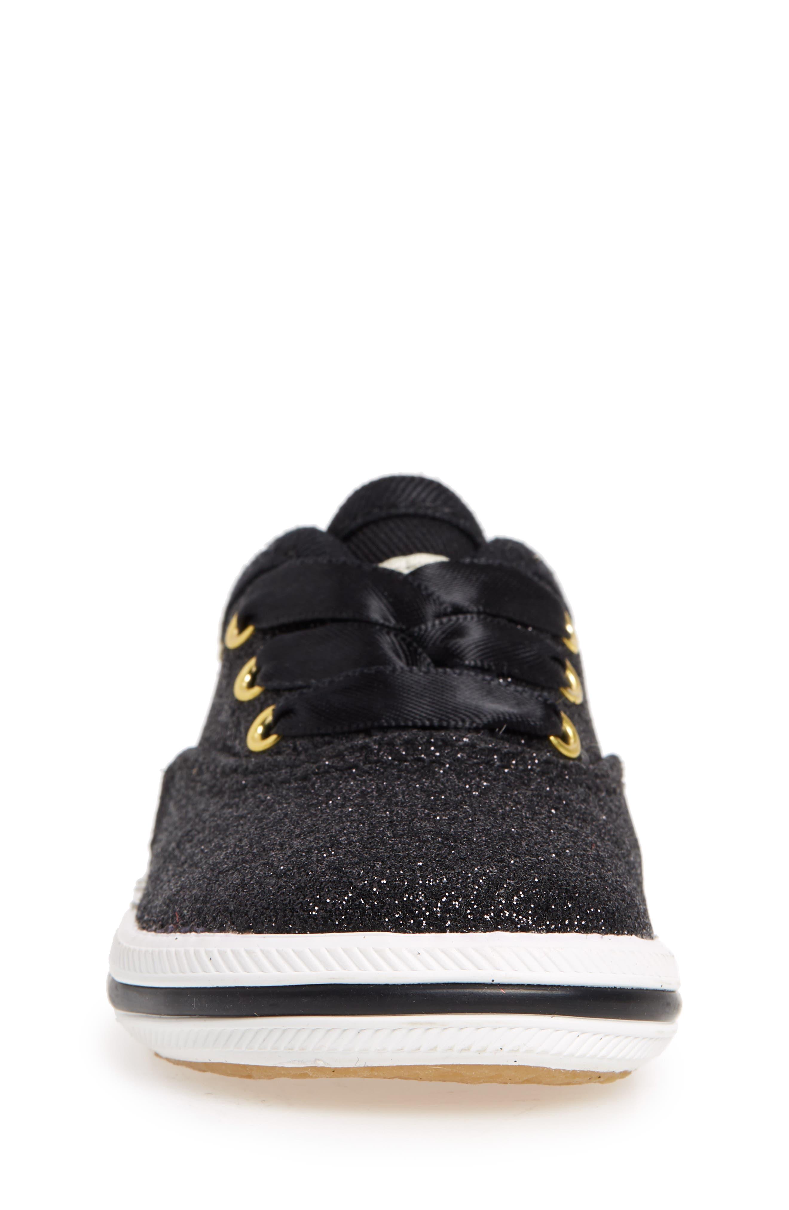 x kate spade new york Champion Glitter Crib Shoe,                             Alternate thumbnail 4, color,                             Black
