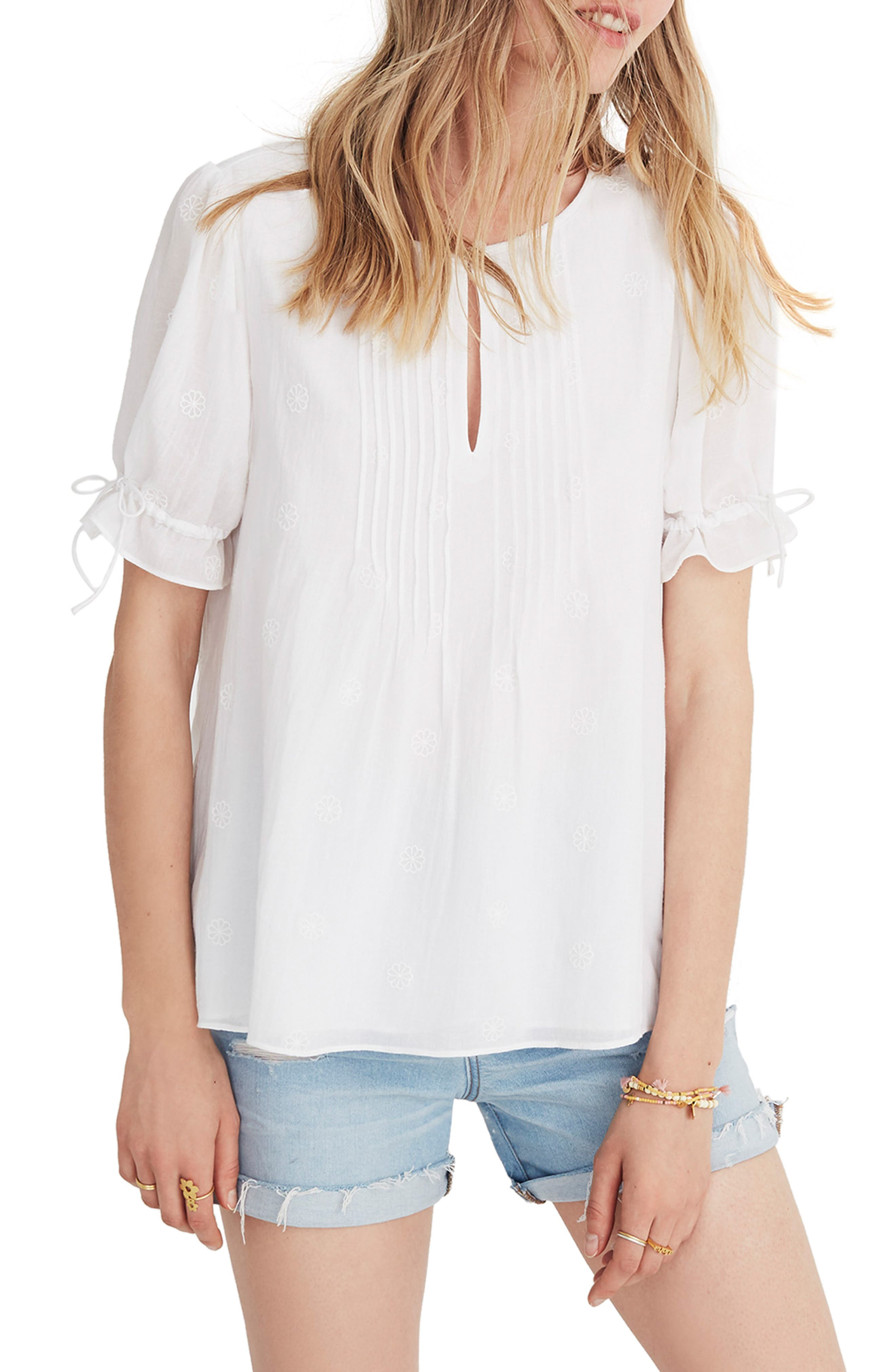 Embroidered Pintuck Top,                         Main,                         color, Eyelet White