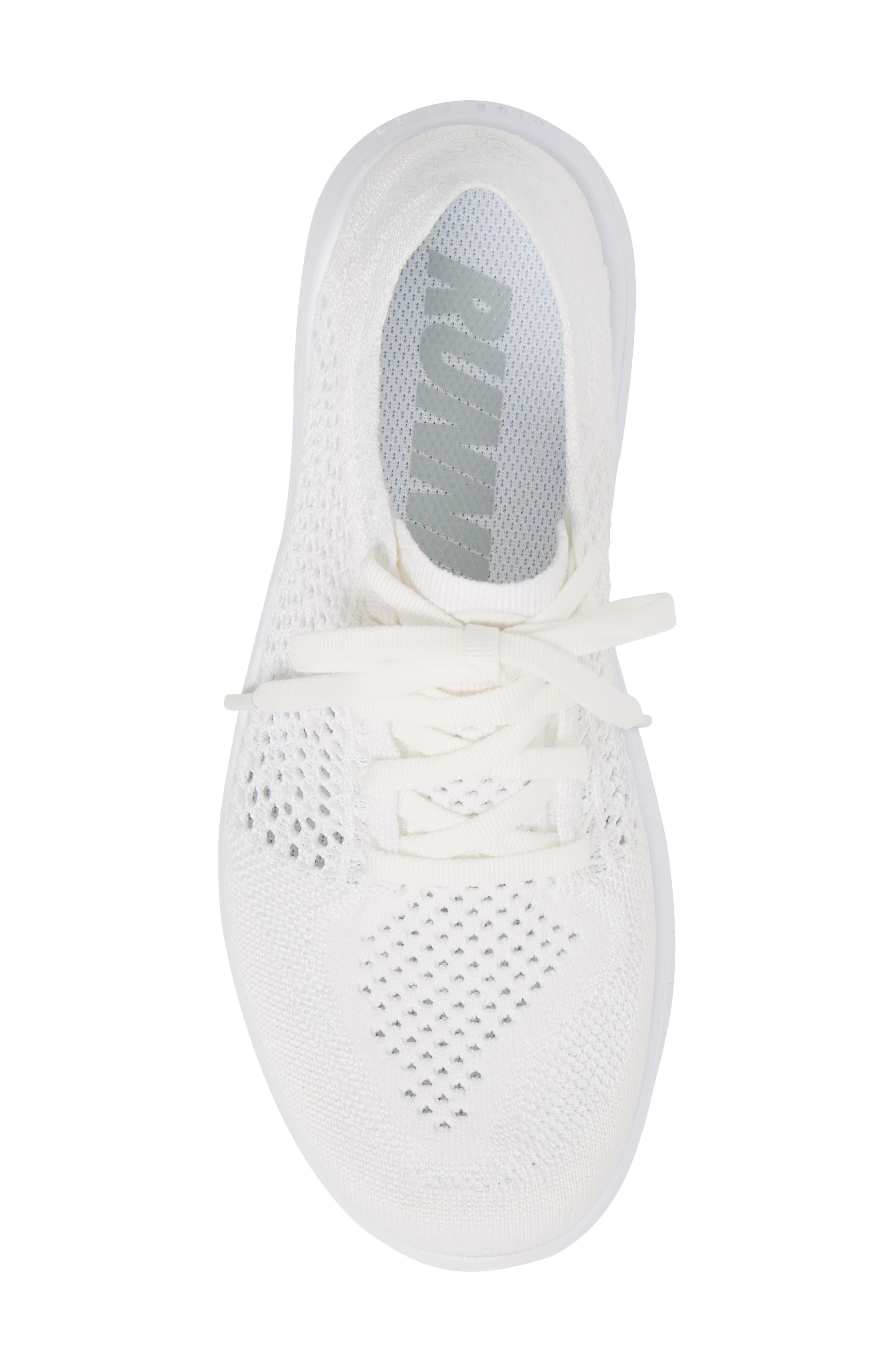 Free RN Flyknit 2018 Running Shoe,                             Alternate thumbnail 5, color,                             White/ White