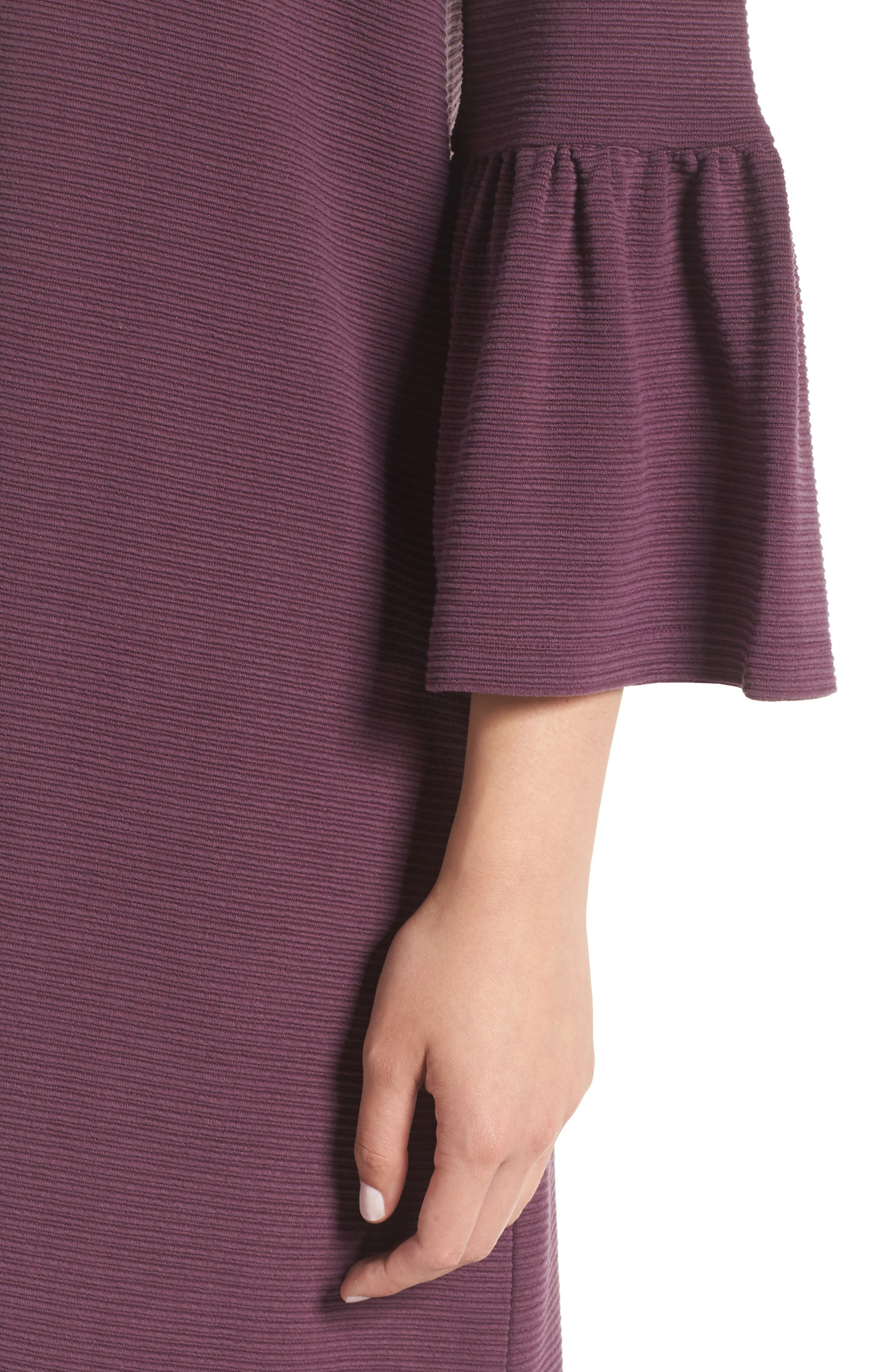 Paros Sudan Bell Sleeve Shift Dress,                             Alternate thumbnail 4, color,                             Plum Noir