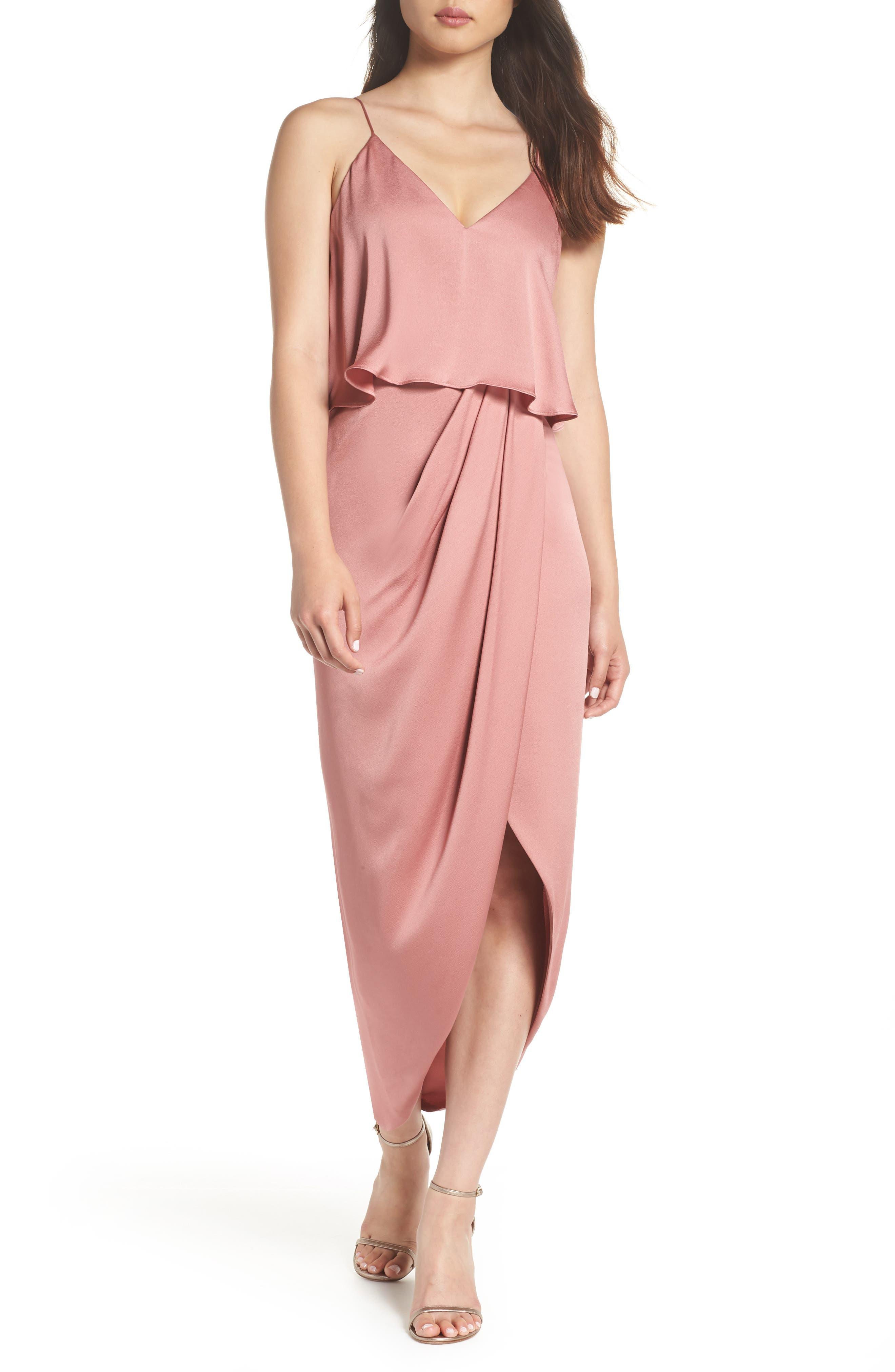 Luxe Frill Tulip Hem Maxi Dress,                             Main thumbnail 1, color,                             Rose