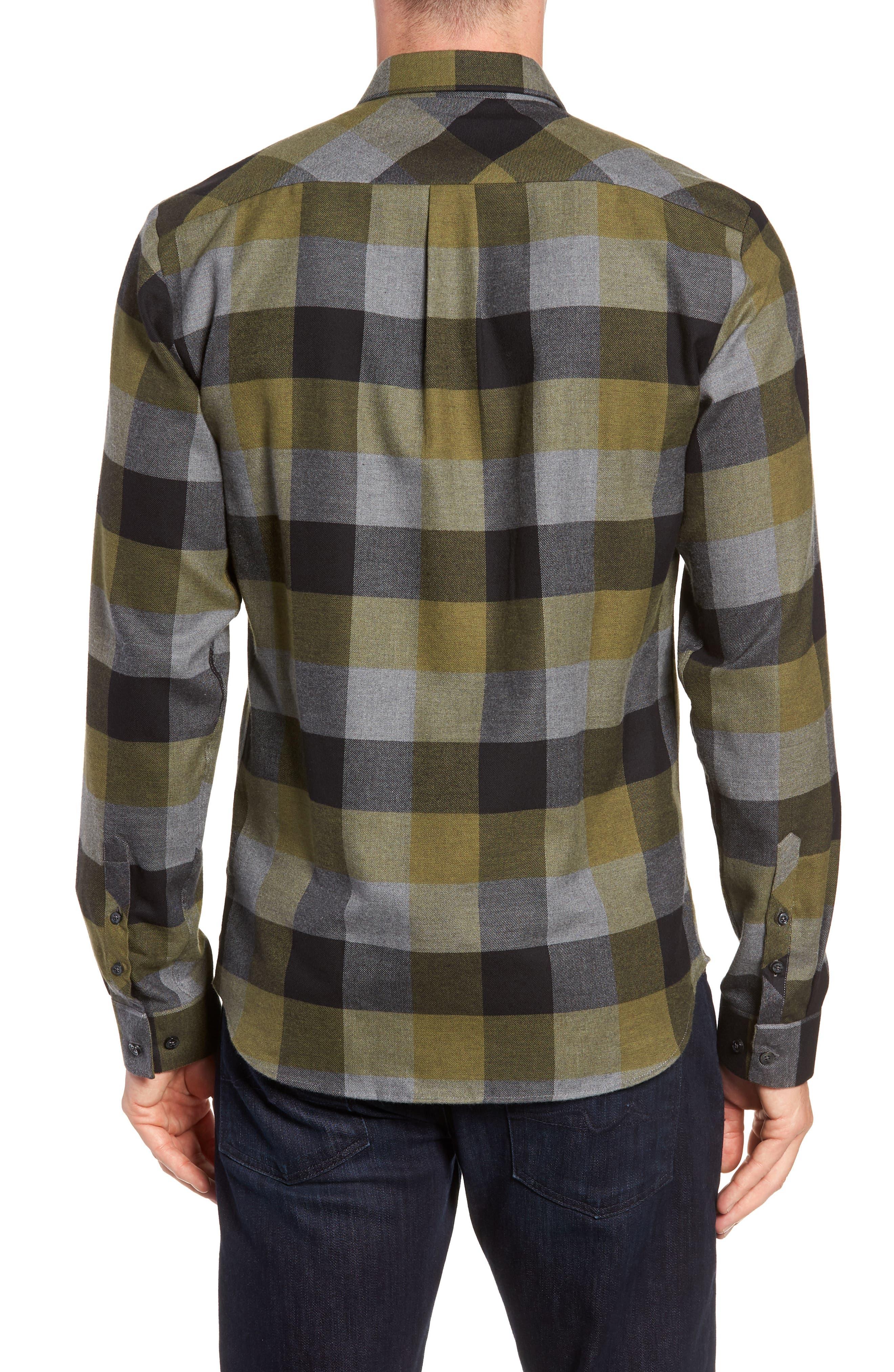 Check Sport Shirt,                             Alternate thumbnail 3, color,                             Olive Green Check