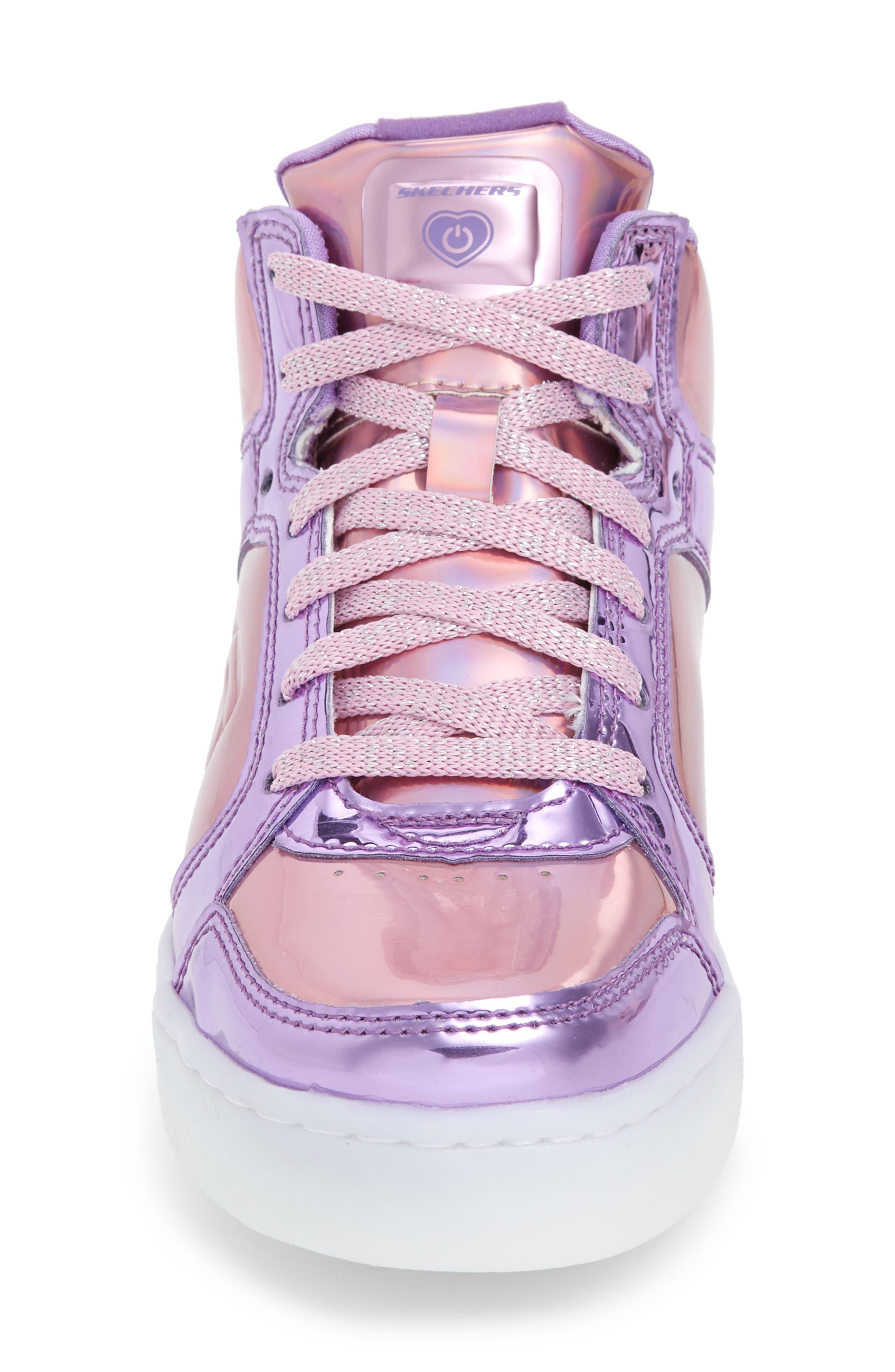 Energy Lights Metallic High Top Sneaker,                             Alternate thumbnail 4, color,                             Pink/ Purple