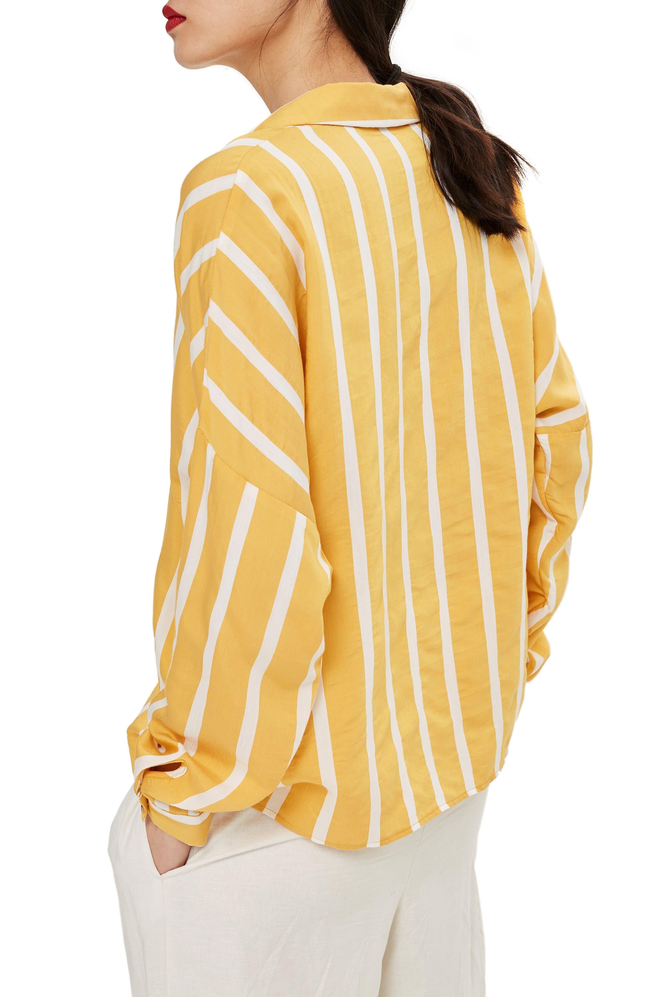 Wide Stripe Shirt,                             Alternate thumbnail 3, color,                             Yellow Multi