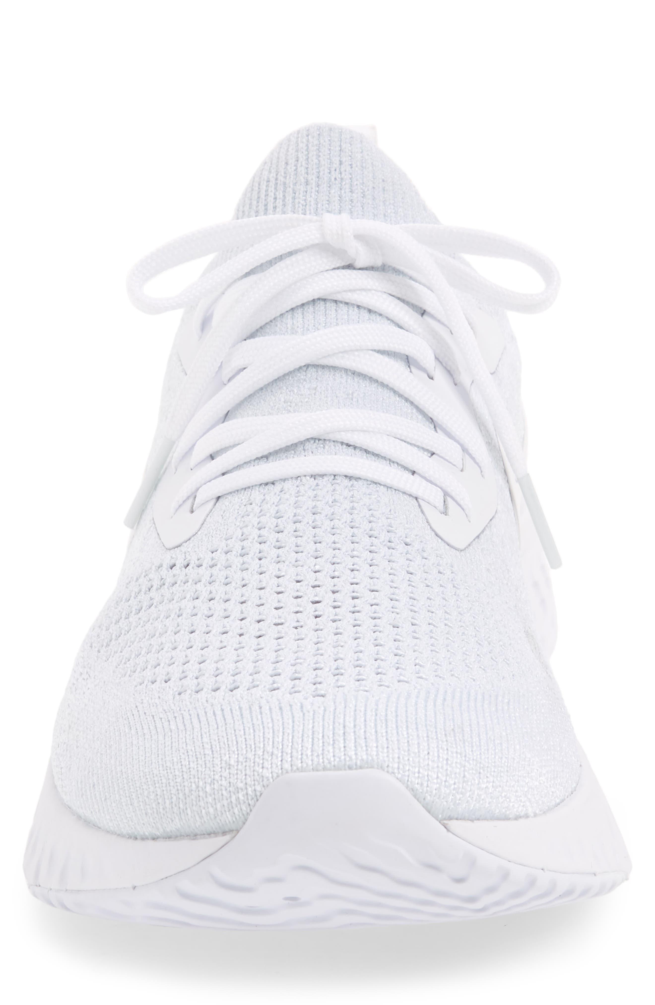 Epic React Flyknit Running Shoe,                             Alternate thumbnail 5, color,                             White