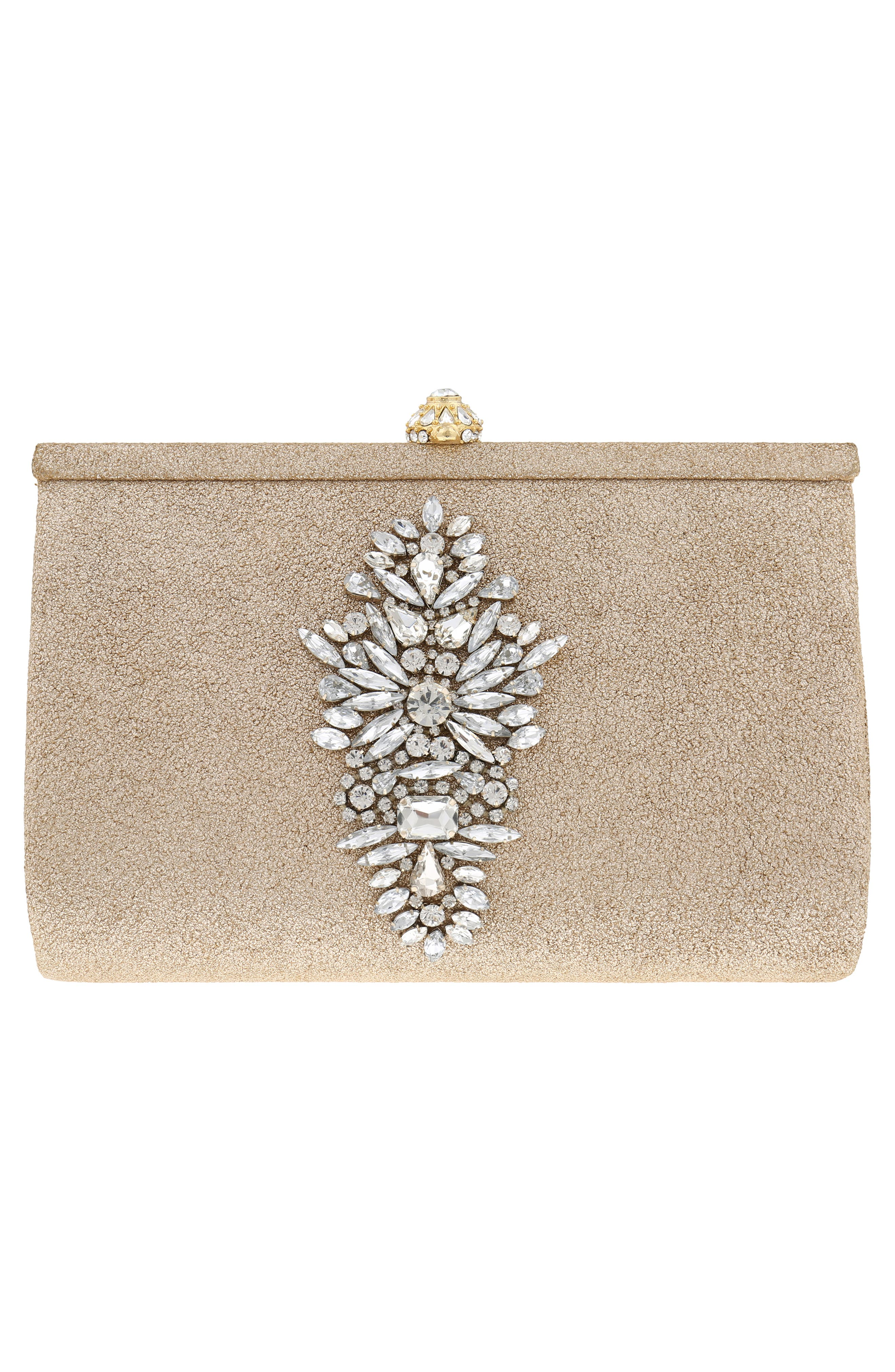 Galaxy Embellished Clutch,                             Alternate thumbnail 3, color,                             Platino