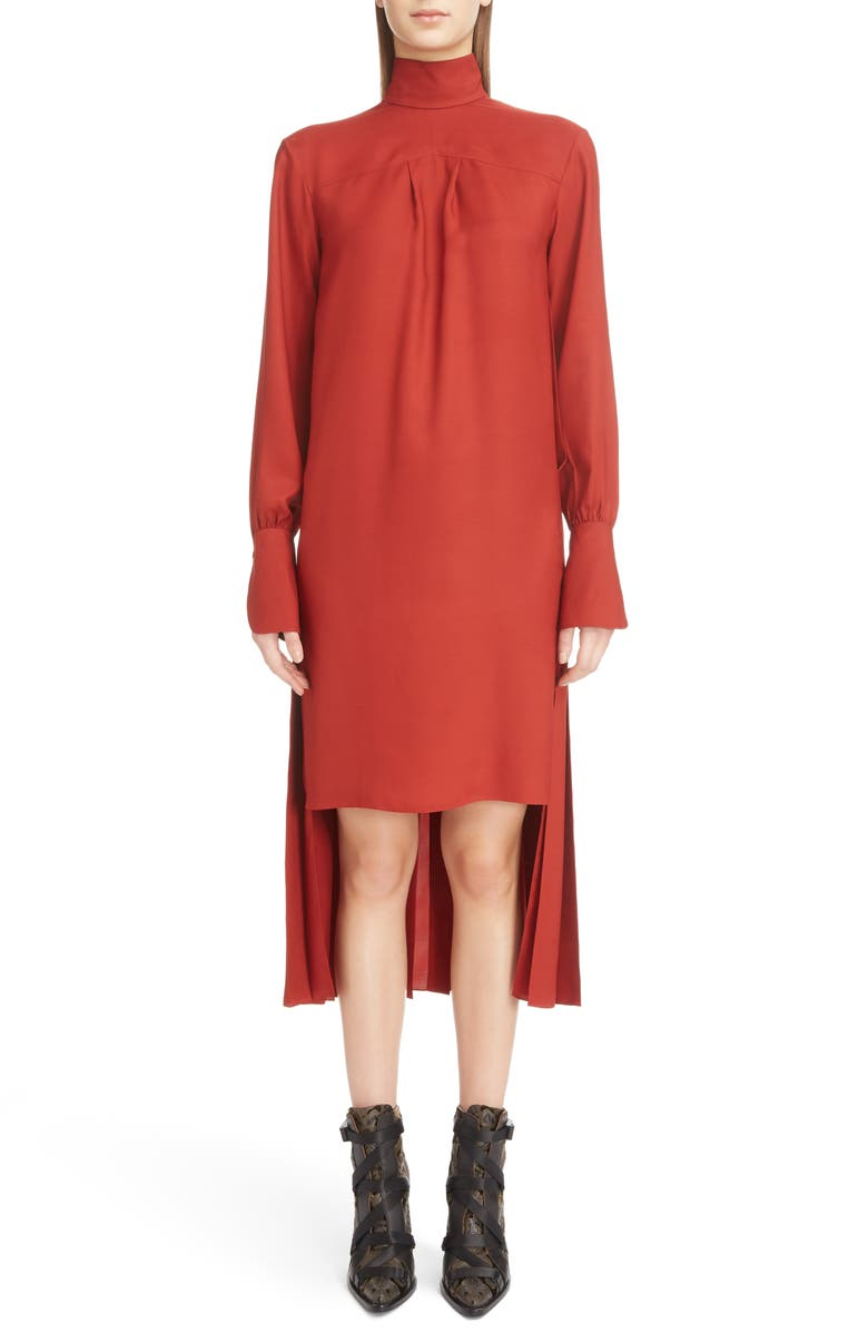 Step Hem Silk Blend Dress