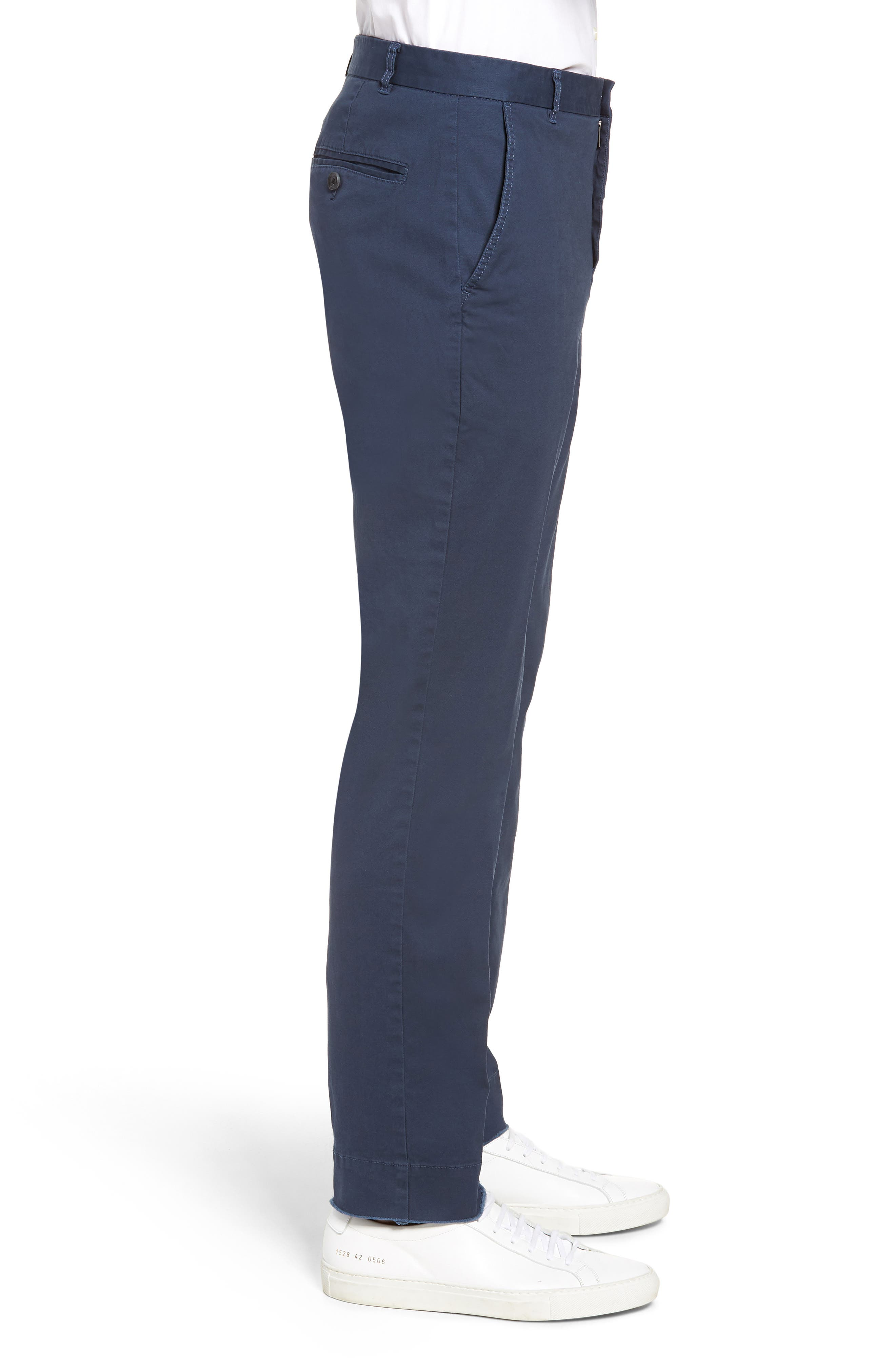 Slim Fit Stretch Twill Pants,                             Alternate thumbnail 4, color,                             Navy