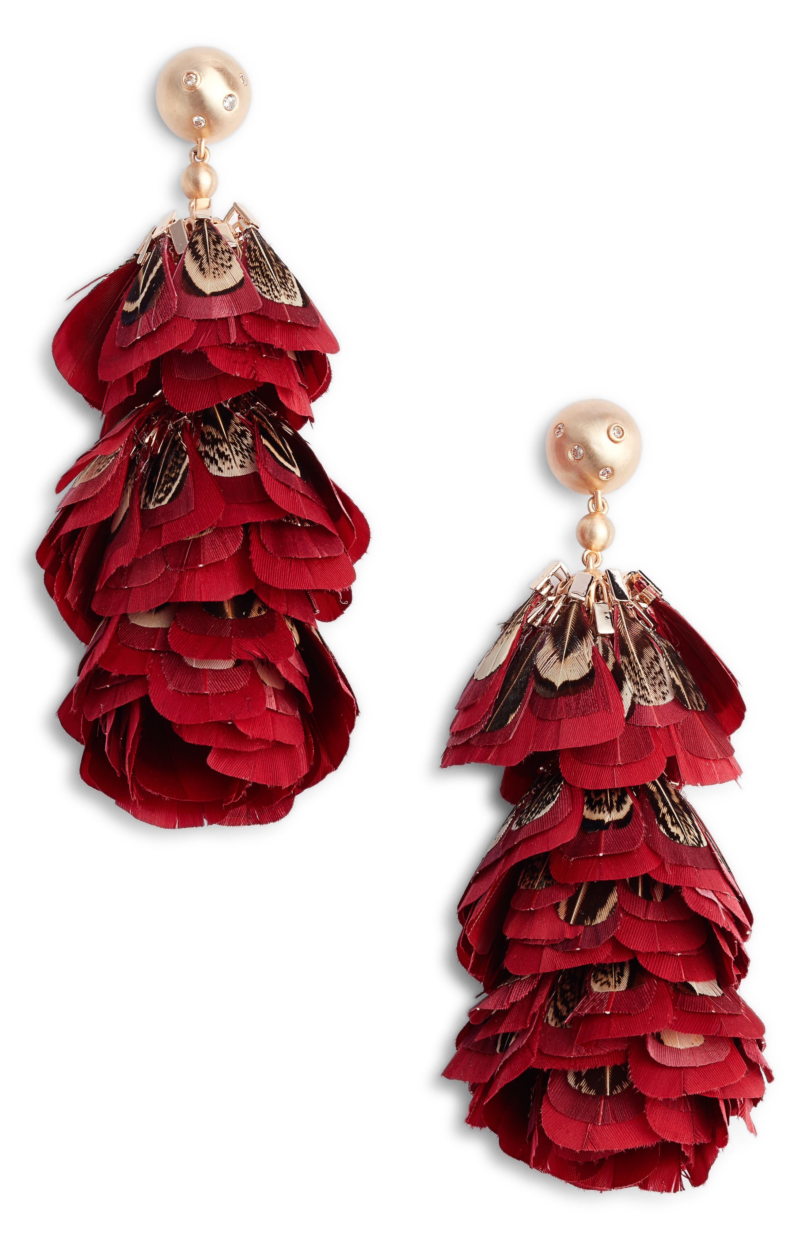 LENNI TIERED FEATHER EARRINGS