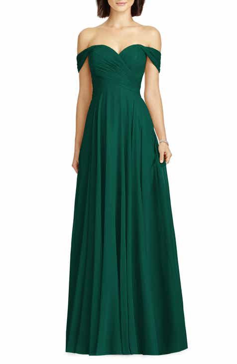 55d0628e9557b5 Dessy Collection Lux Ruched Off the Shoulder Chiffon Gown (Regular   Plus  Size)