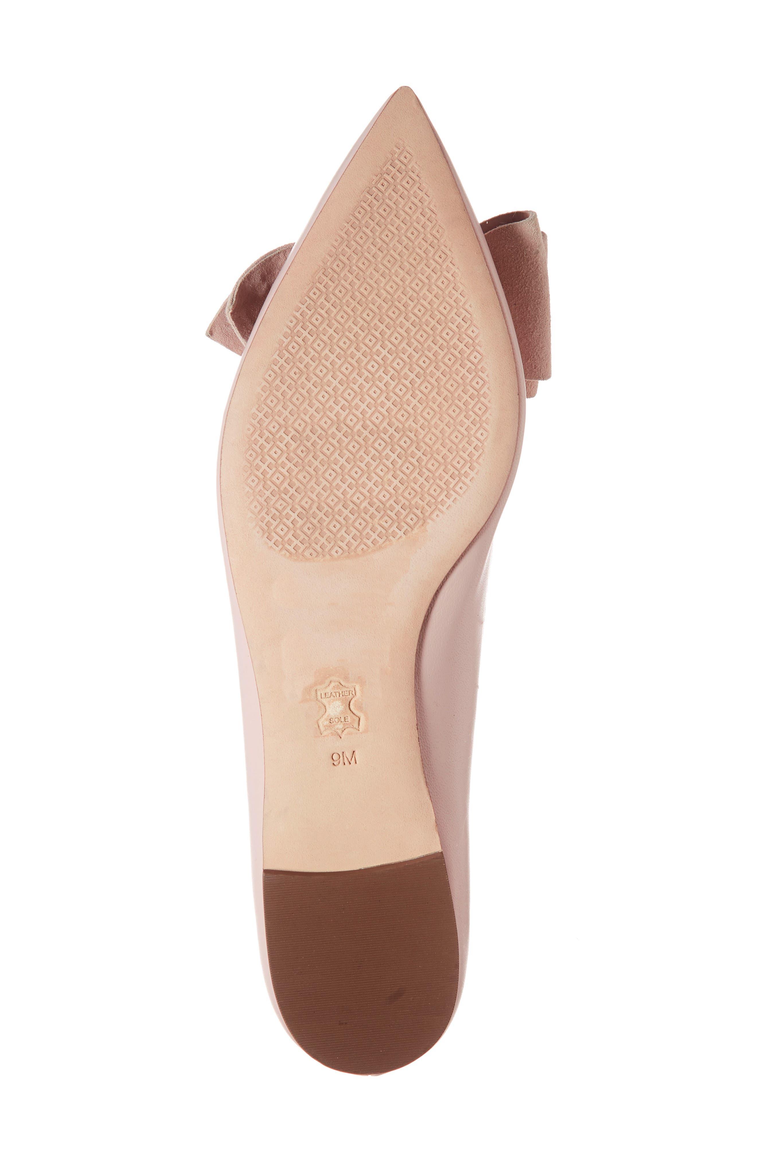 Rosalind Bow Pointy Toe Flat,                             Alternate thumbnail 5, color,                             Sea Shell Pink