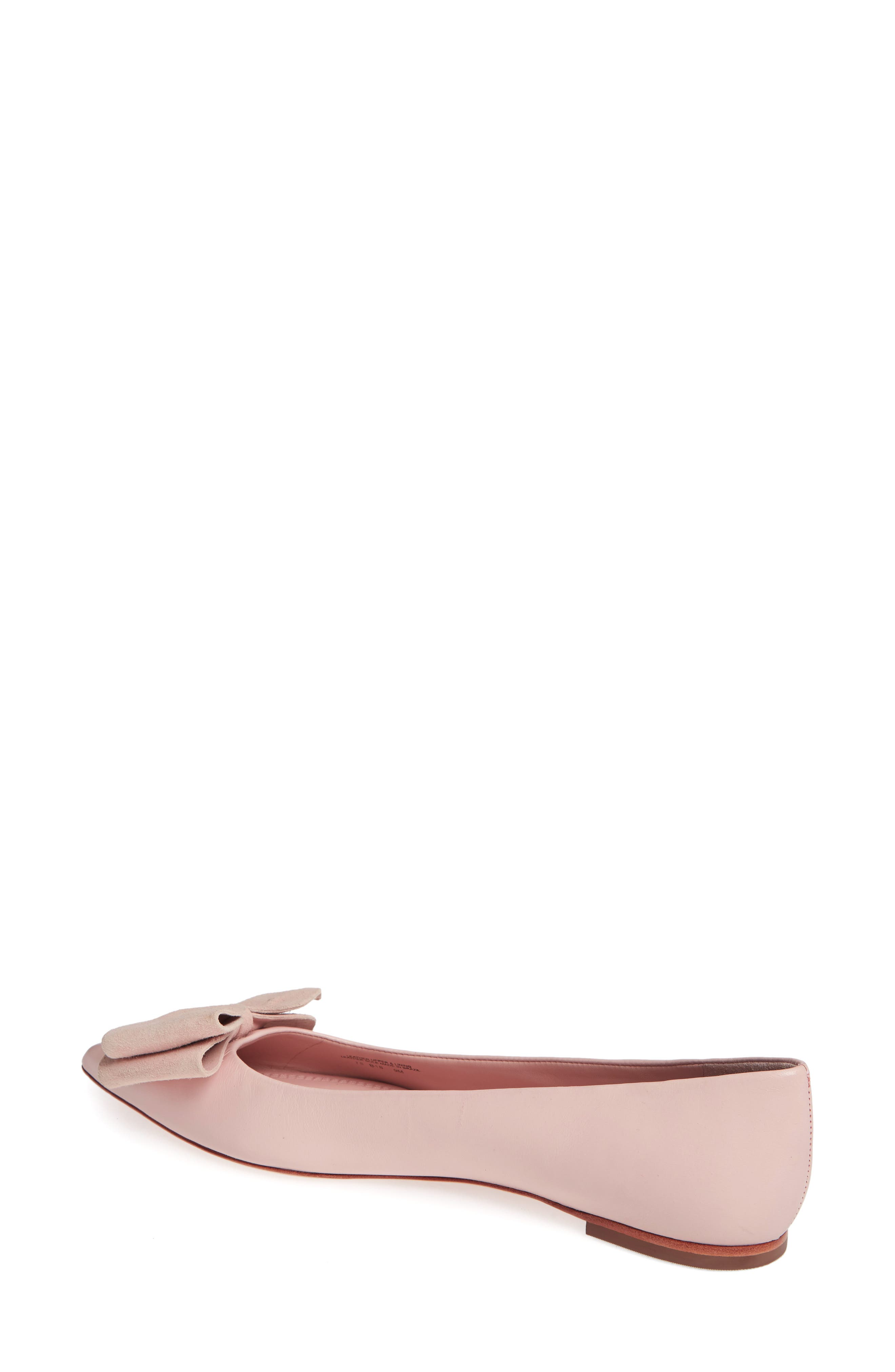 Rosalind Bow Pointy Toe Flat,                             Alternate thumbnail 2, color,                             Sea Shell Pink