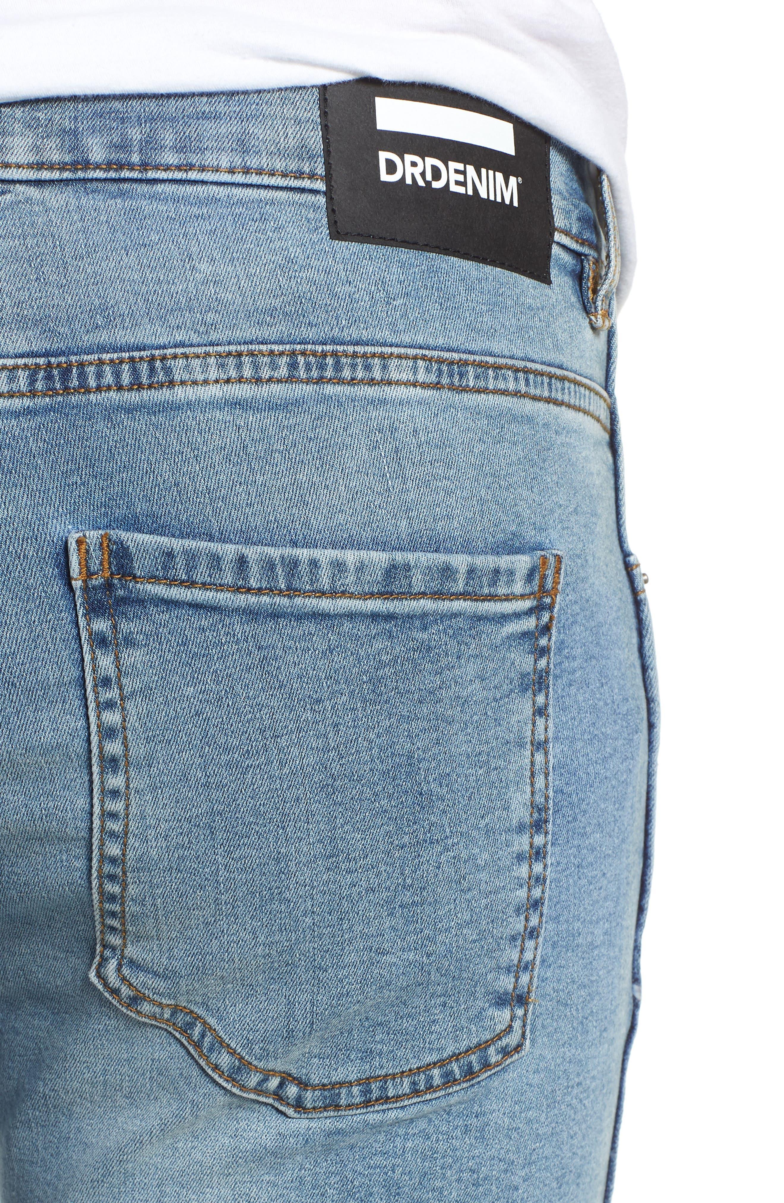 Snap Skinny Fit Jeans,                             Alternate thumbnail 4, color,                             Yonder Blue Wash