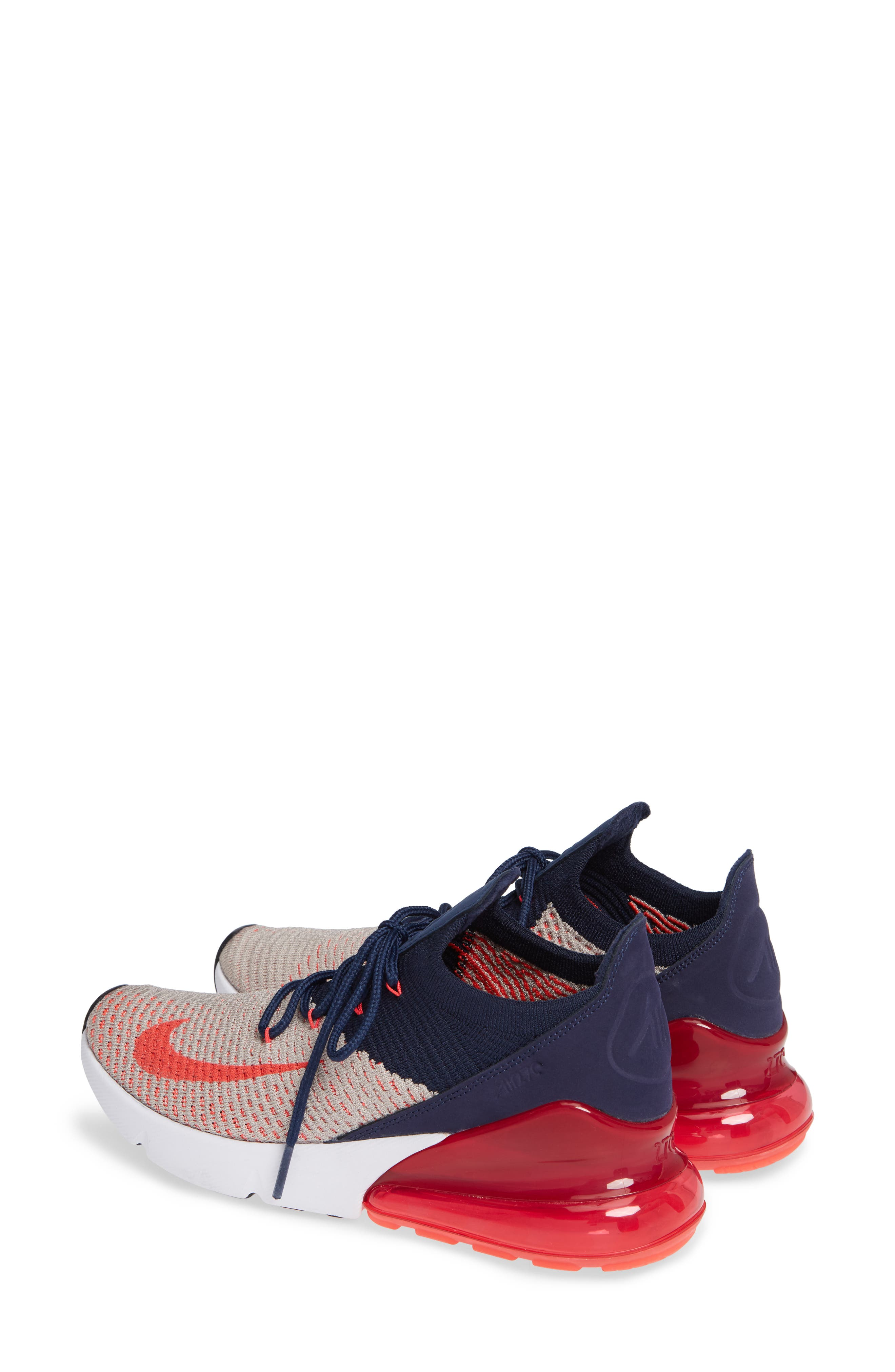 Air Max 270 Flyknit Sneaker,                             Alternate thumbnail 2, color,                             Moon Particle/ Red Orbit/ Navy
