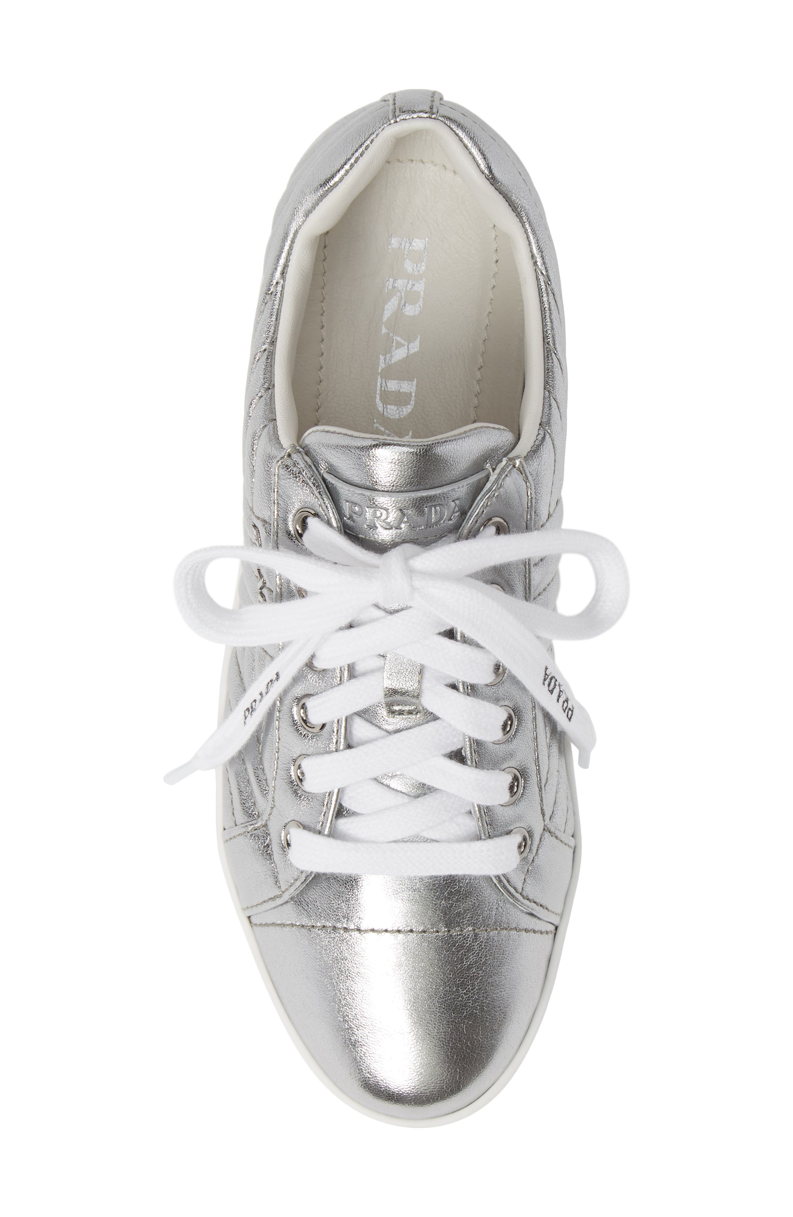 Quilted Leather Sneaker,                             Alternate thumbnail 4, color,                             Silver