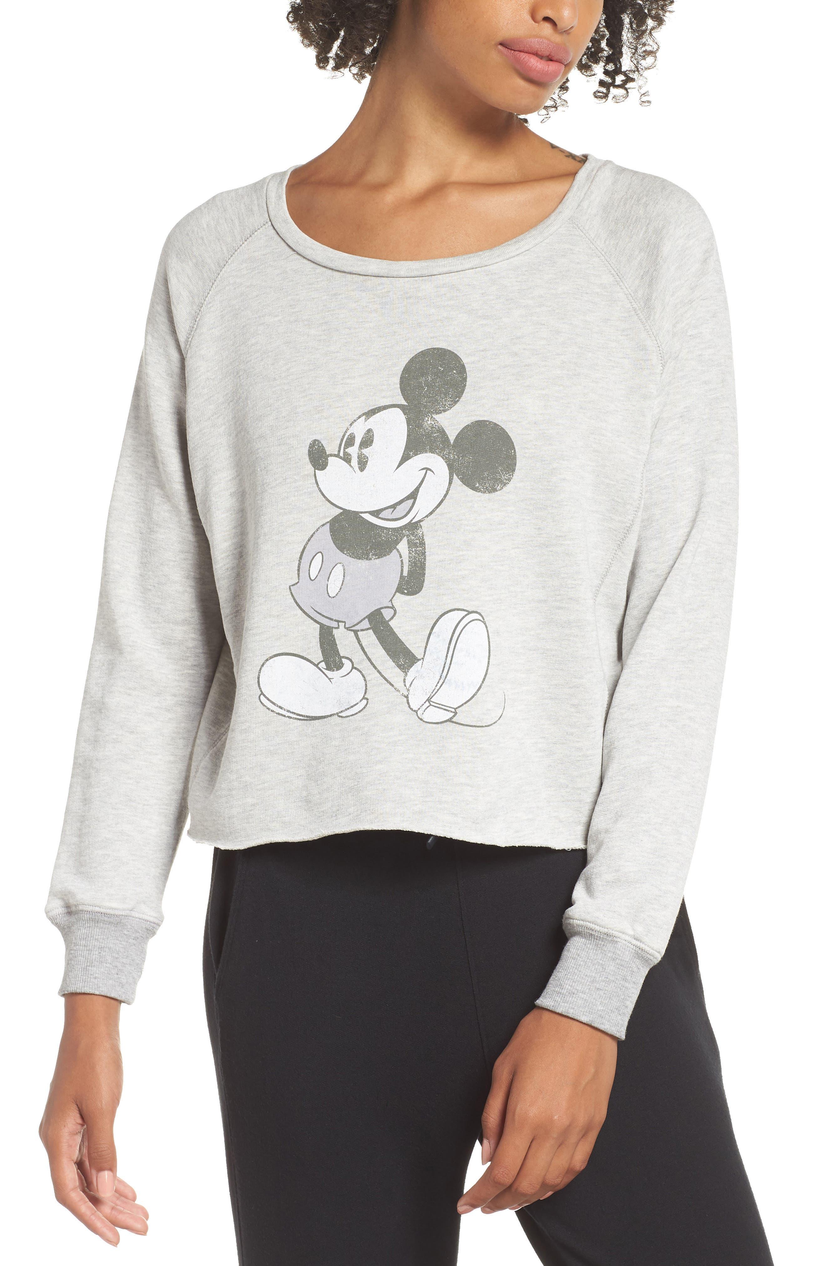 DAVID LERNER Mickey Mouse Graphic Sweatshirt in Heather Gray