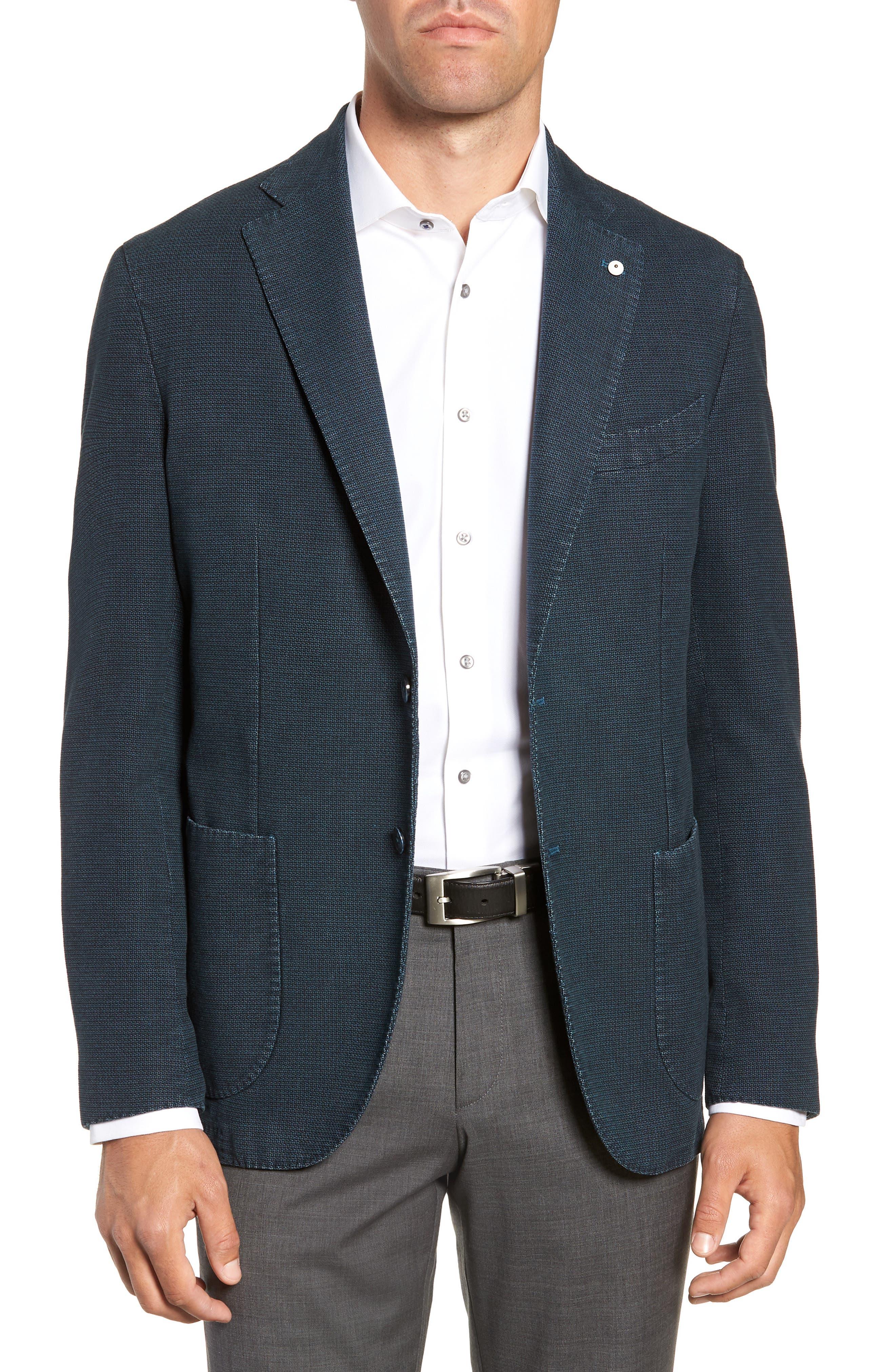 L.B.M. L.B.M 1911 Classic Fit Cotton Sport Coat in Blue/ Green