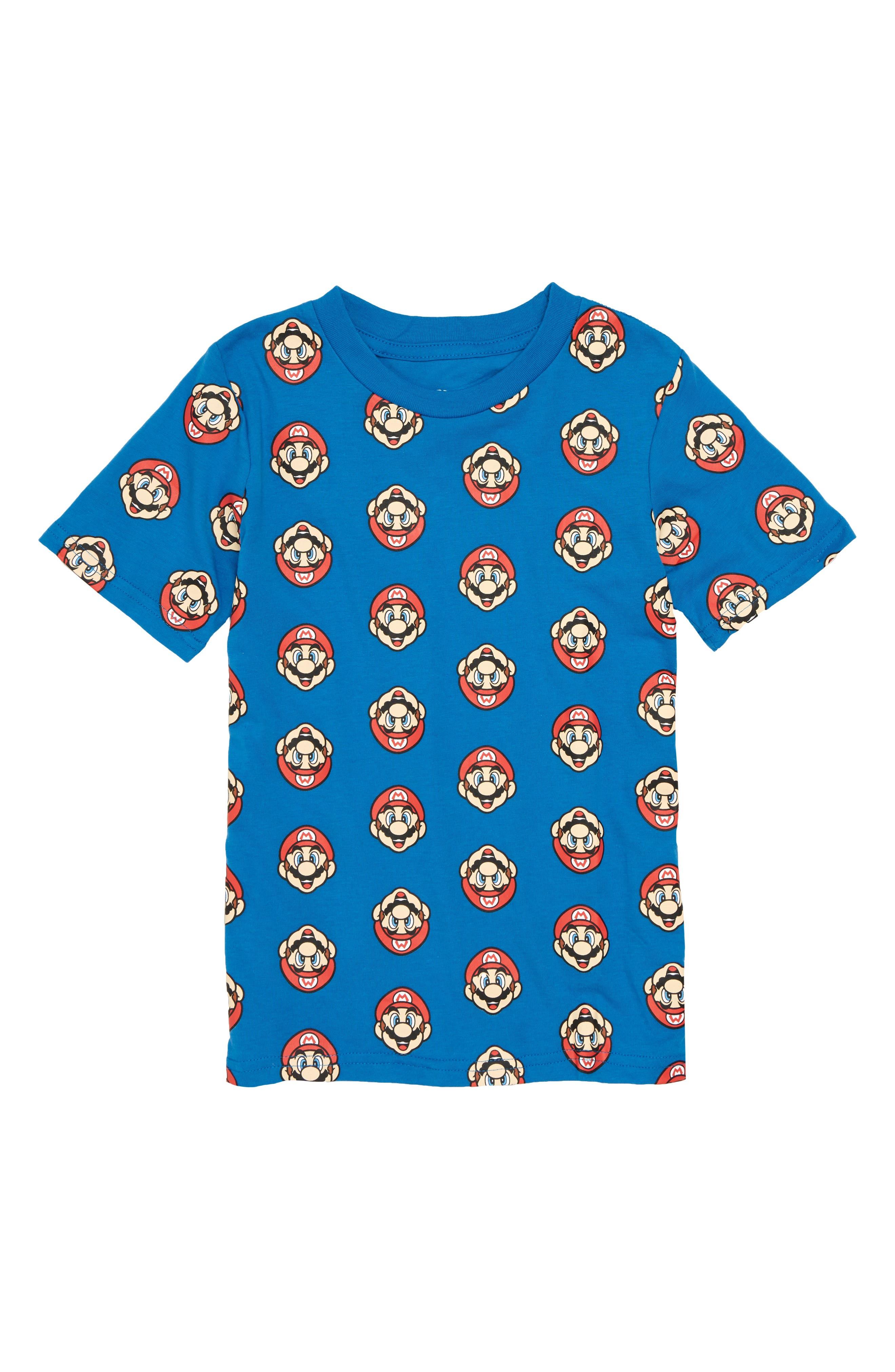 Nintendo Mario<sup>®</sup> Print T-Shirt,                             Main thumbnail 1, color,                             Blue