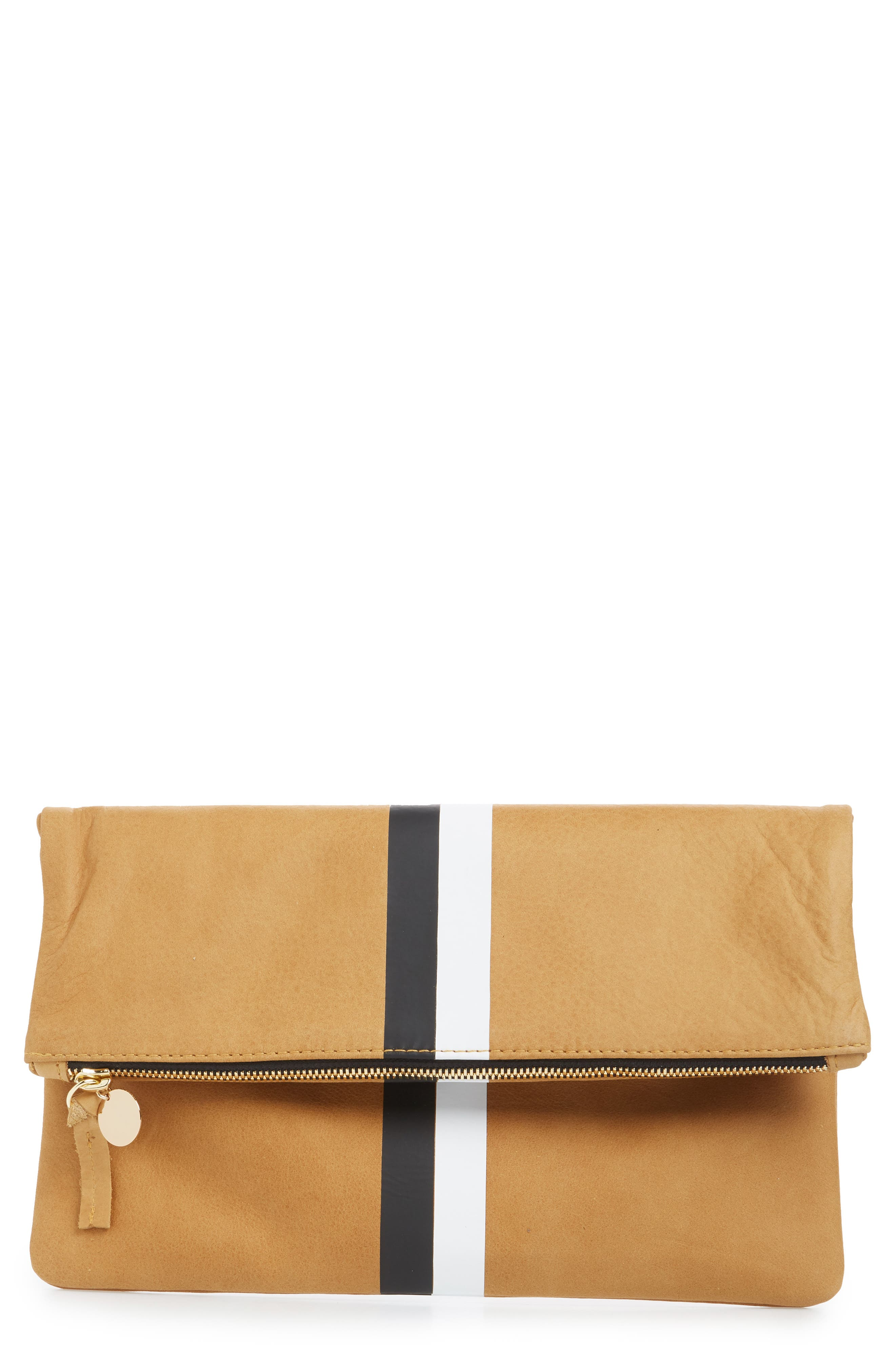 Center Stripe Leather Foldover Clutch,                             Main thumbnail 1, color,                             Camel