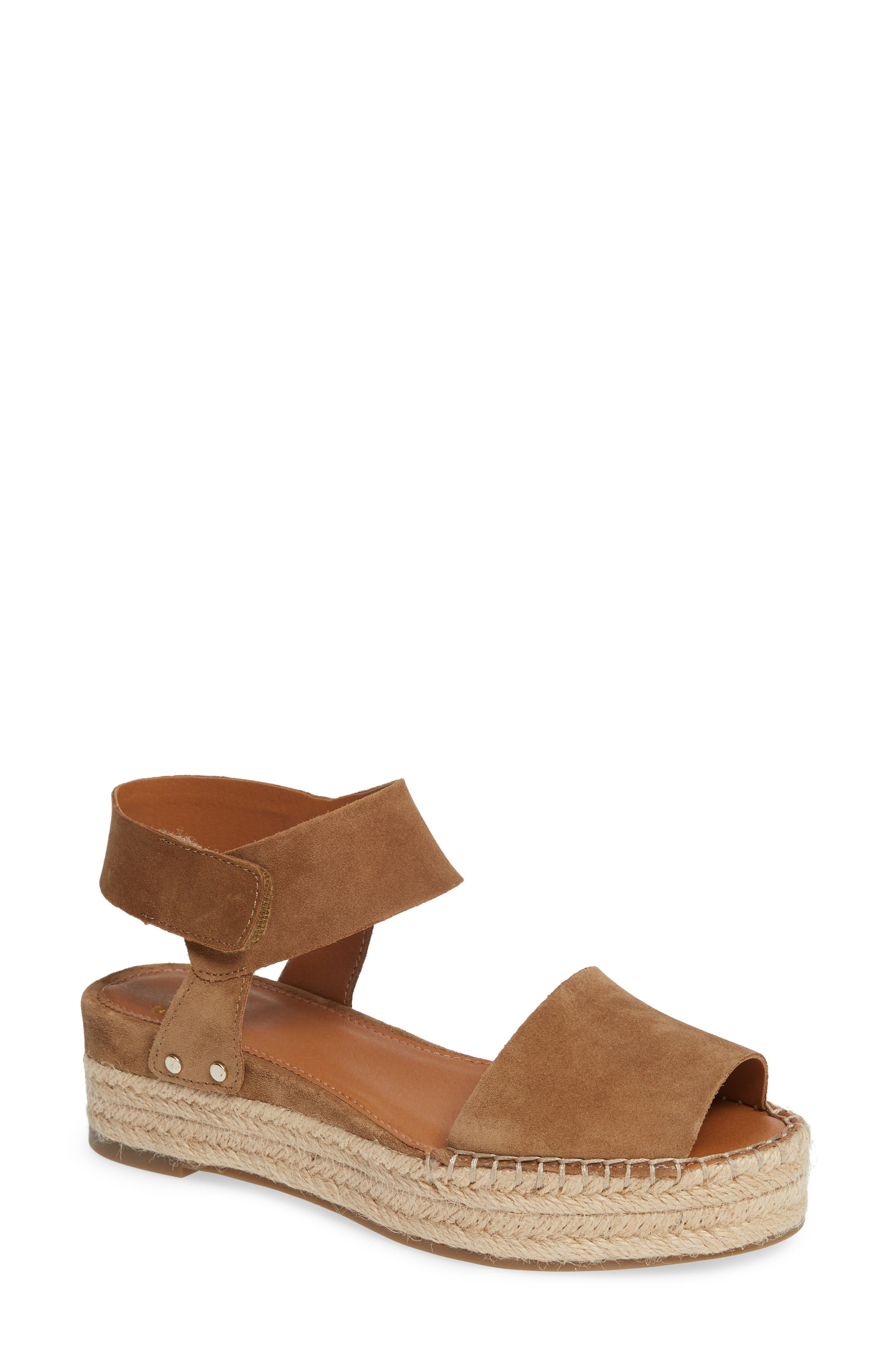 Oak Platform Wedge Espadrille,                             Main thumbnail 1, color,                             Toasted Barley Suede