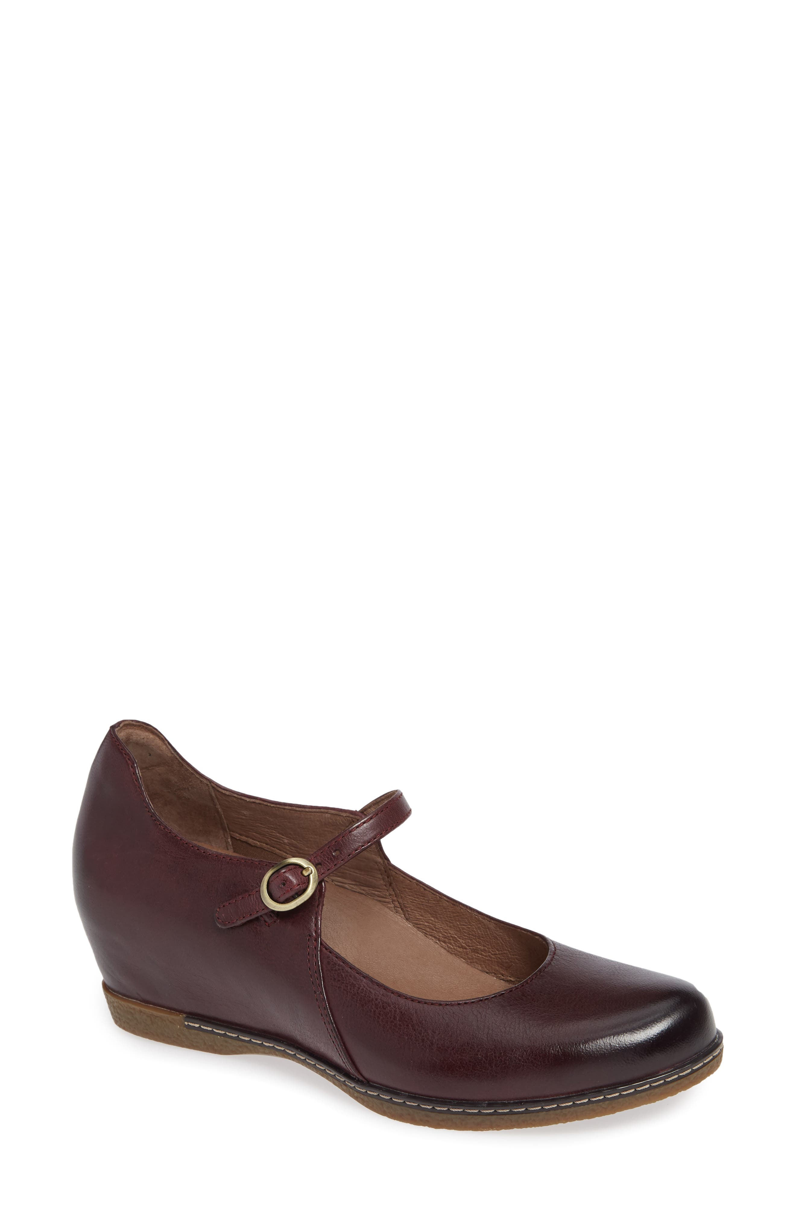 Loralie Mary Jane Wedge,                         Main,                         color, Wine Burnished Leather