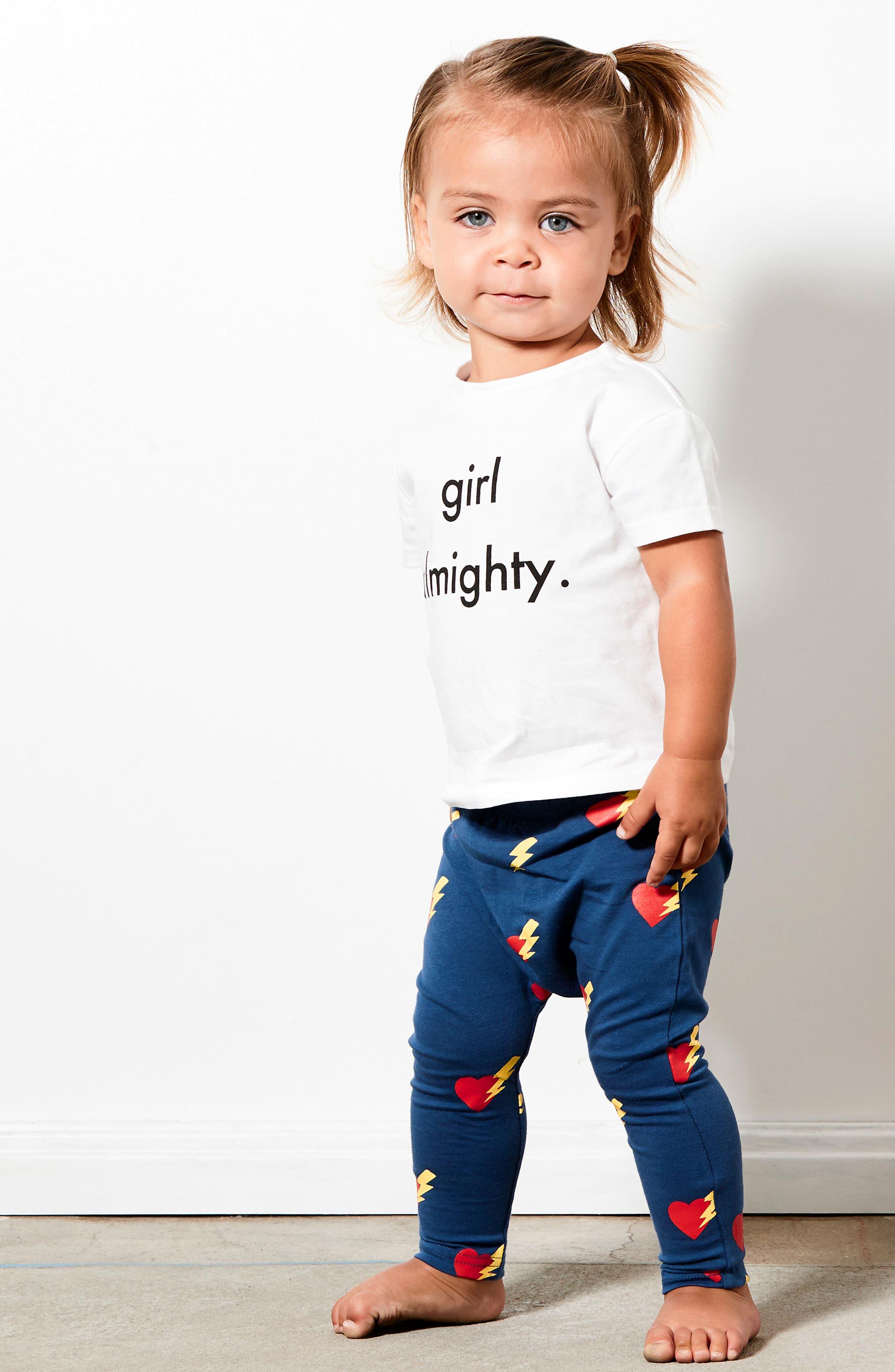 Girls Almighty Tee & Leggings Set,                             Alternate thumbnail 3, color,                             White/ Navy