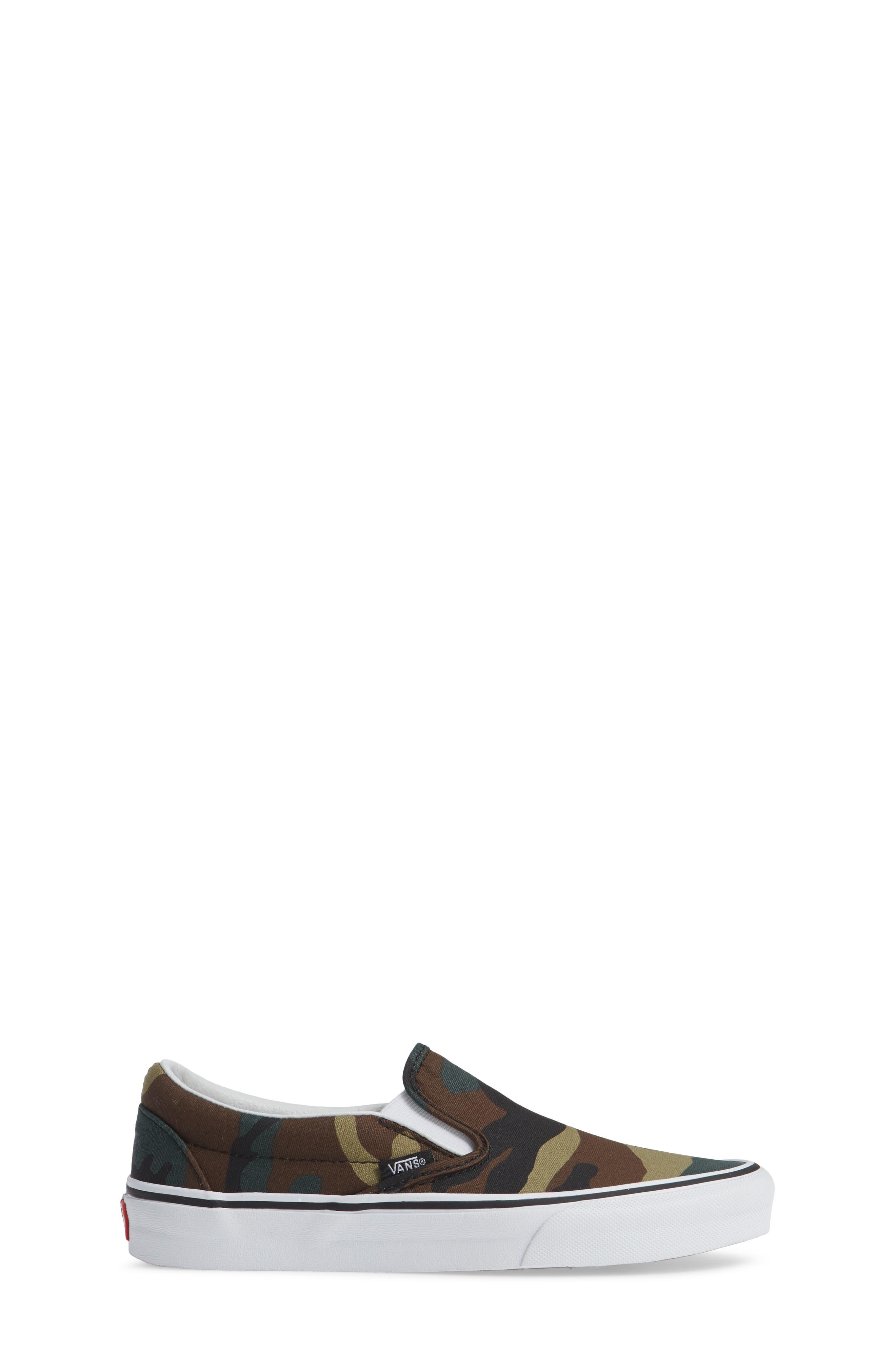 Classic Slip-On Sneaker,                             Alternate thumbnail 3, color,                             Black / Woodland