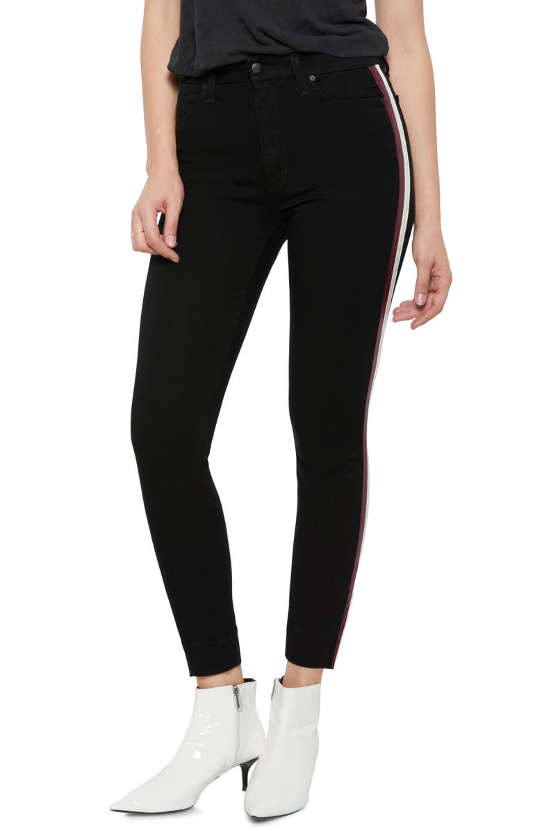 Charlie High Waist Ankle Skinny Jeans with Leather Stripes