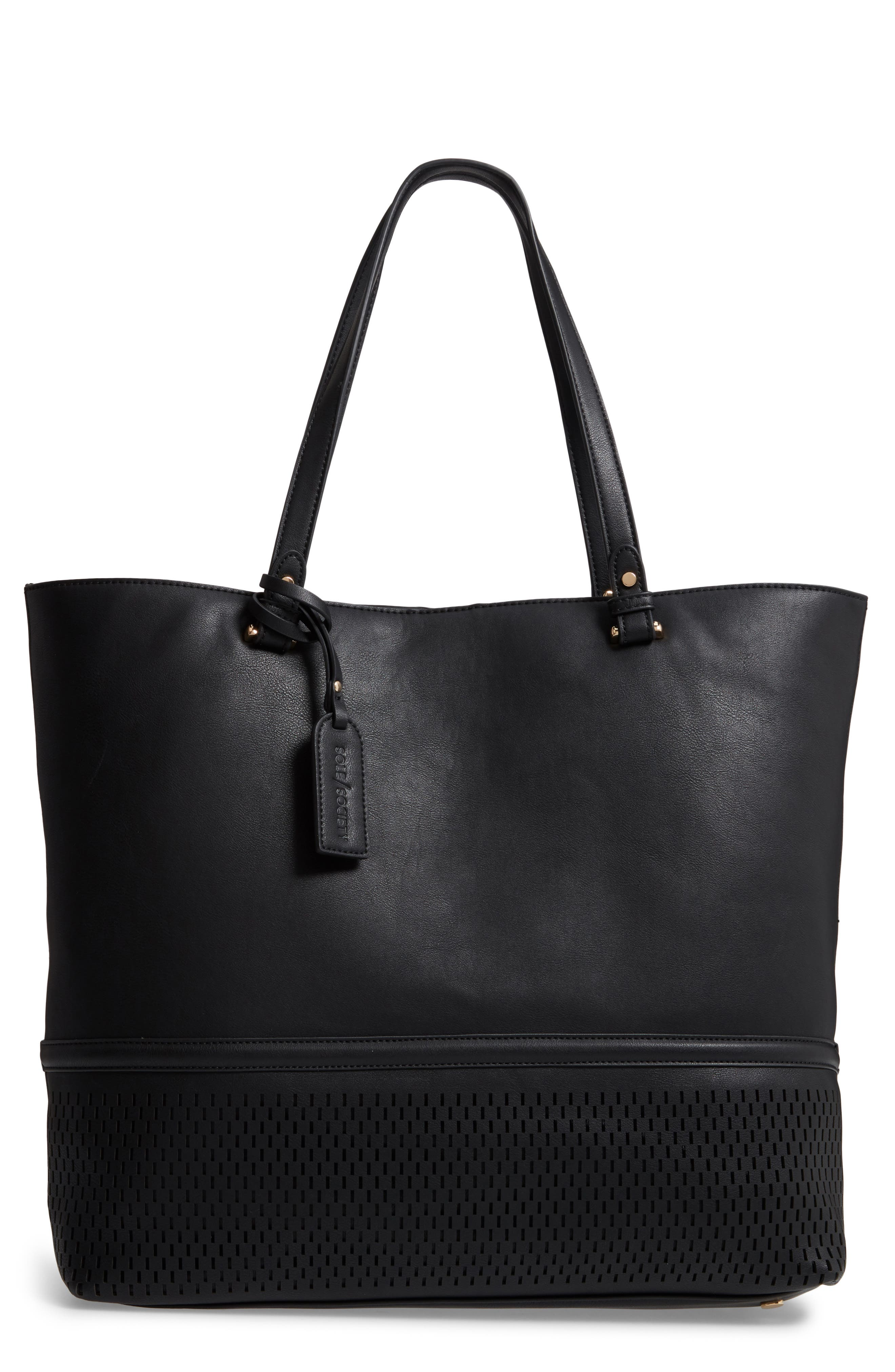 Oversize Faux Leather Tote,                             Main thumbnail 1, color,                             Black