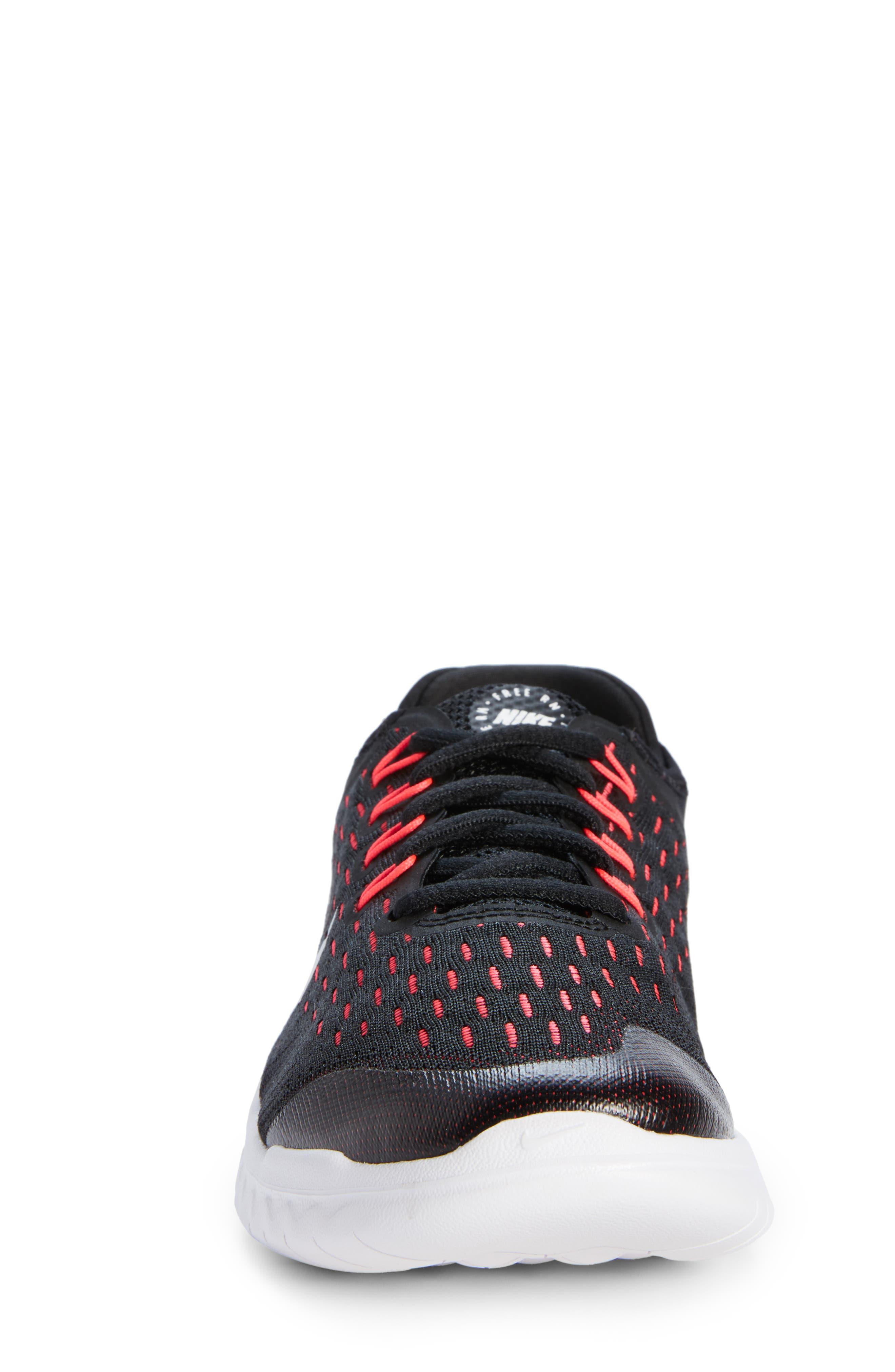 Free RN 2018 Running Shoe,                             Alternate thumbnail 4, color,                             Black/ White/ Pink/ Volt