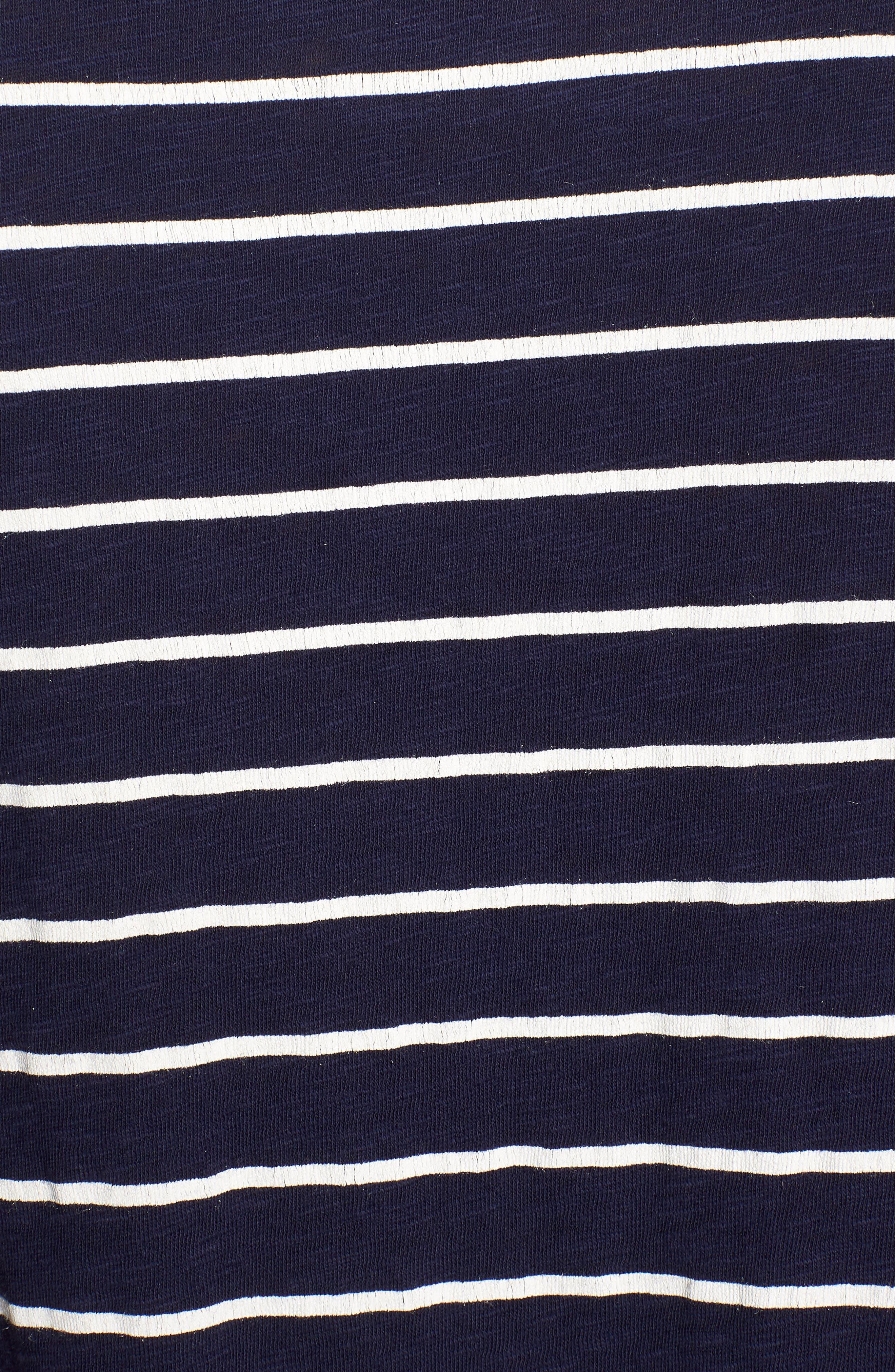 Rounded V-Neck Tee,                             Alternate thumbnail 6, color,                             Navy- White Julia Stripe