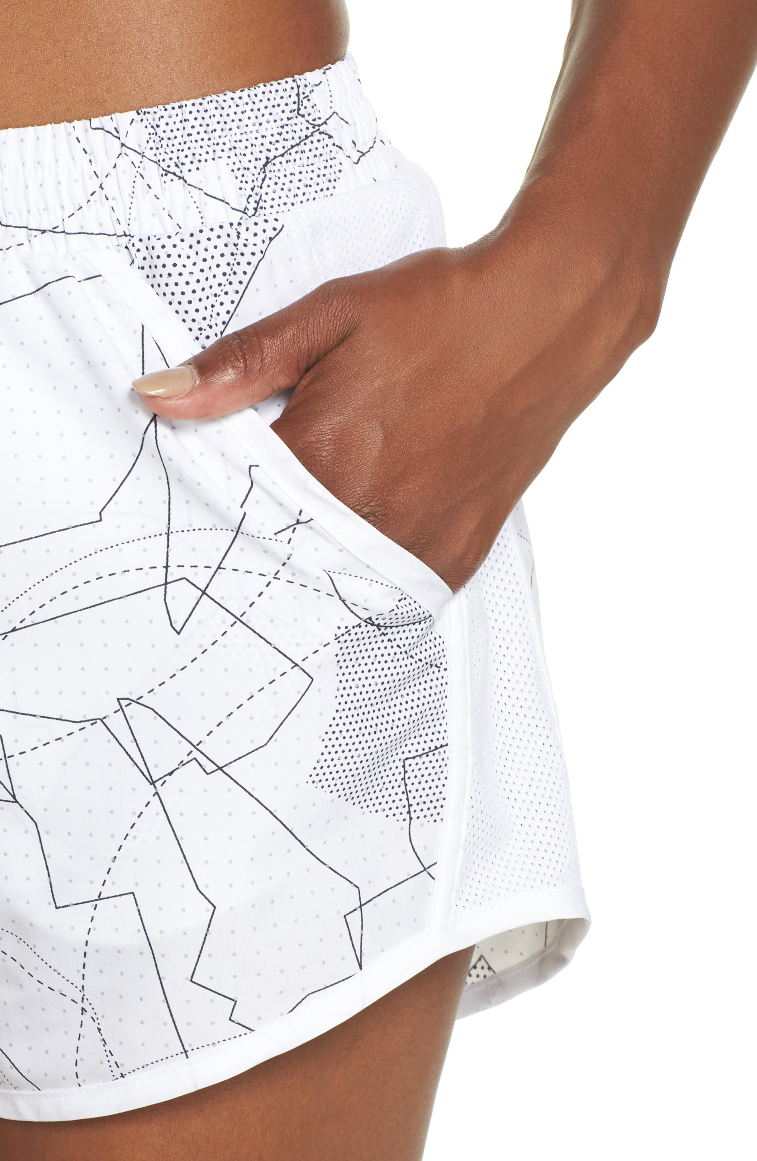 Fly-By Print Shorts,                             Alternate thumbnail 3, color,                             White/ White/ Reflective