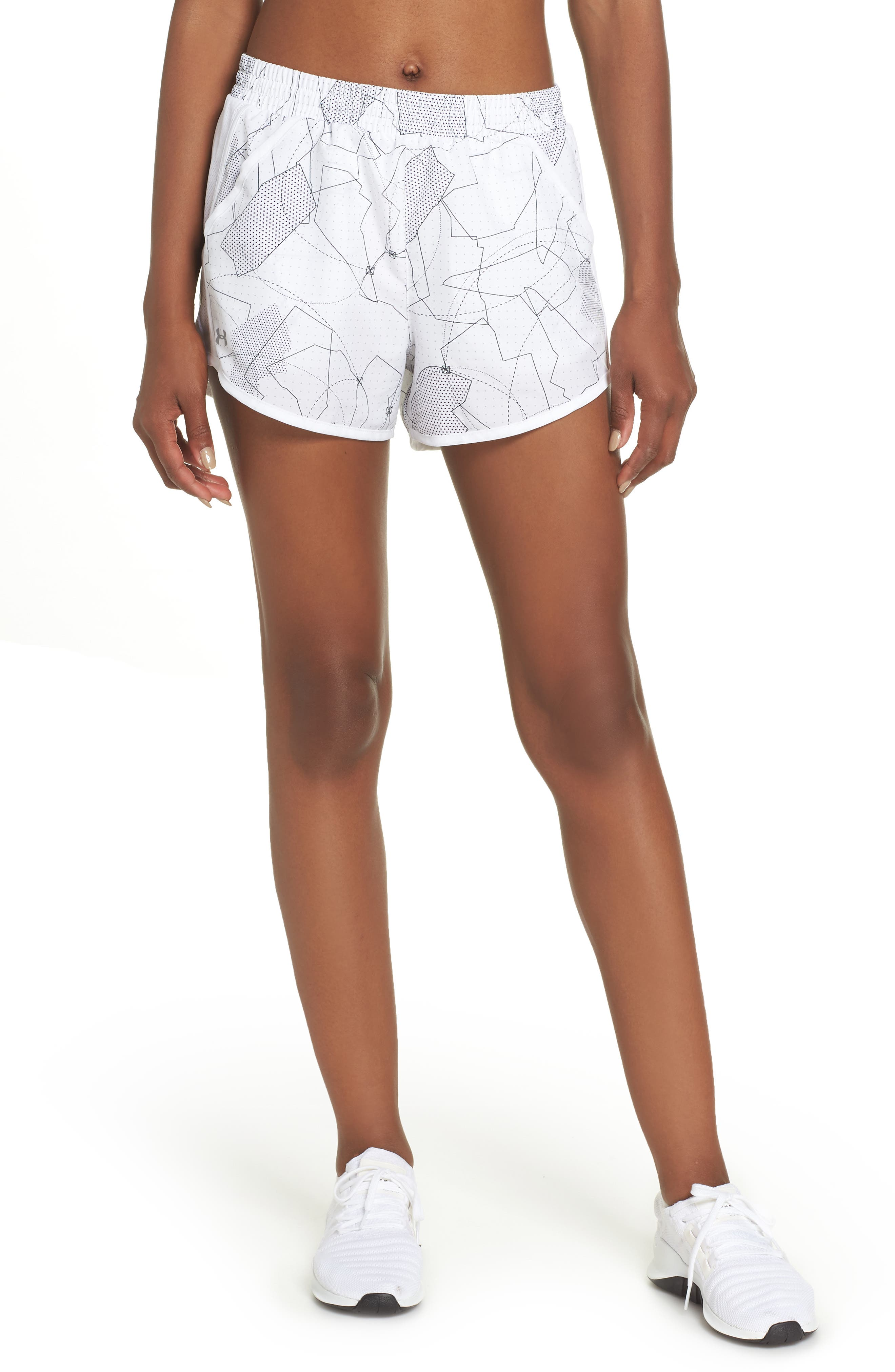 Fly-By Print Shorts,                         Main,                         color, White/ White/ Reflective