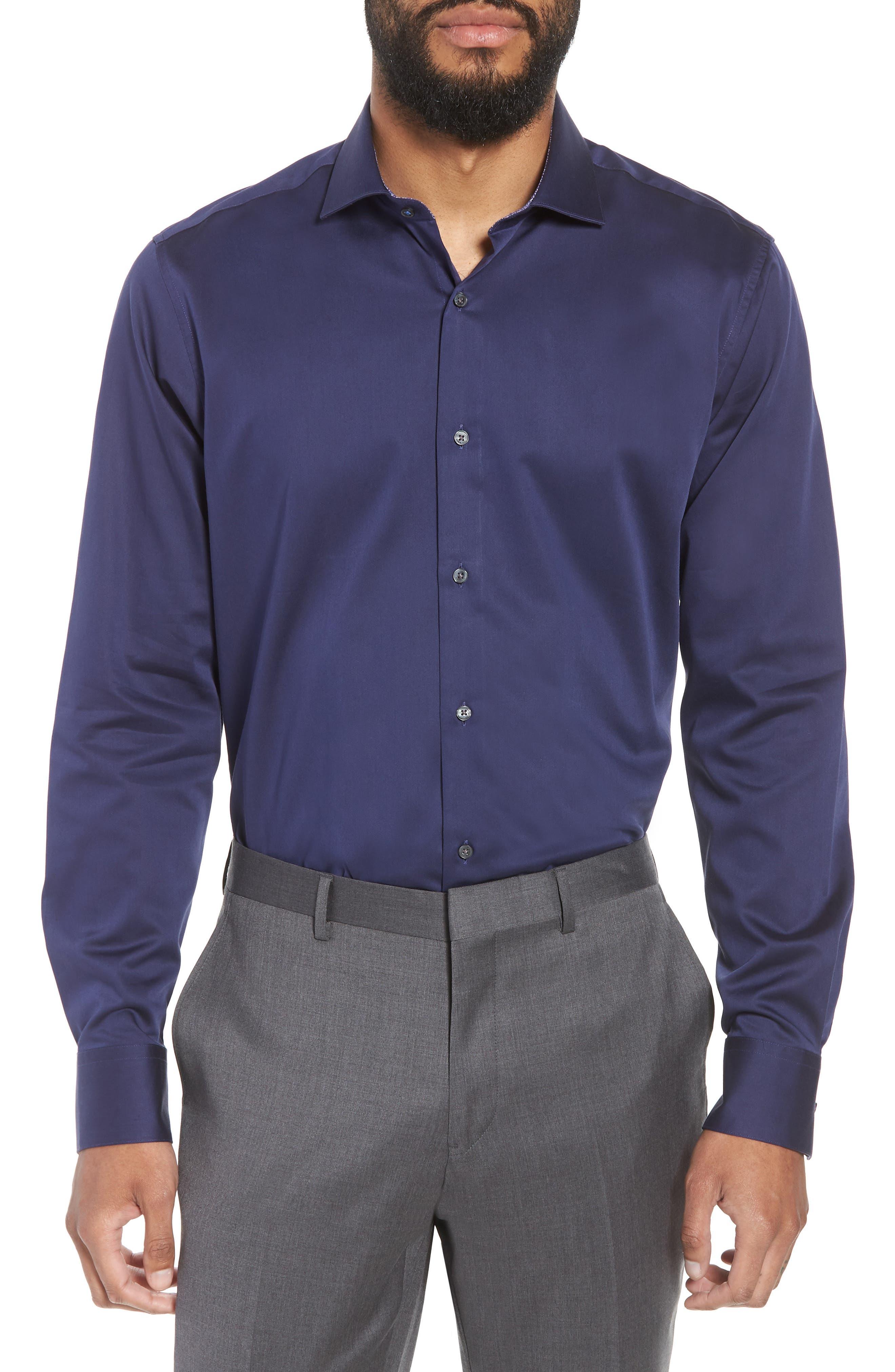 Endurance Bookers Slim Fit Solid Dress Shirt,                             Main thumbnail 1, color,                             Navy