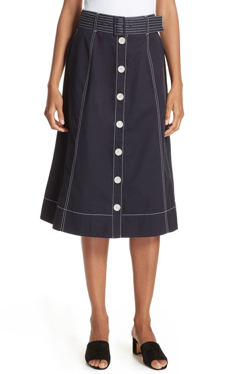 Mayaly Belted Cotton Skirt
