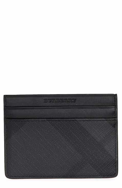 burberry sandon check faux leather card case - Leather Card Holder Wallet