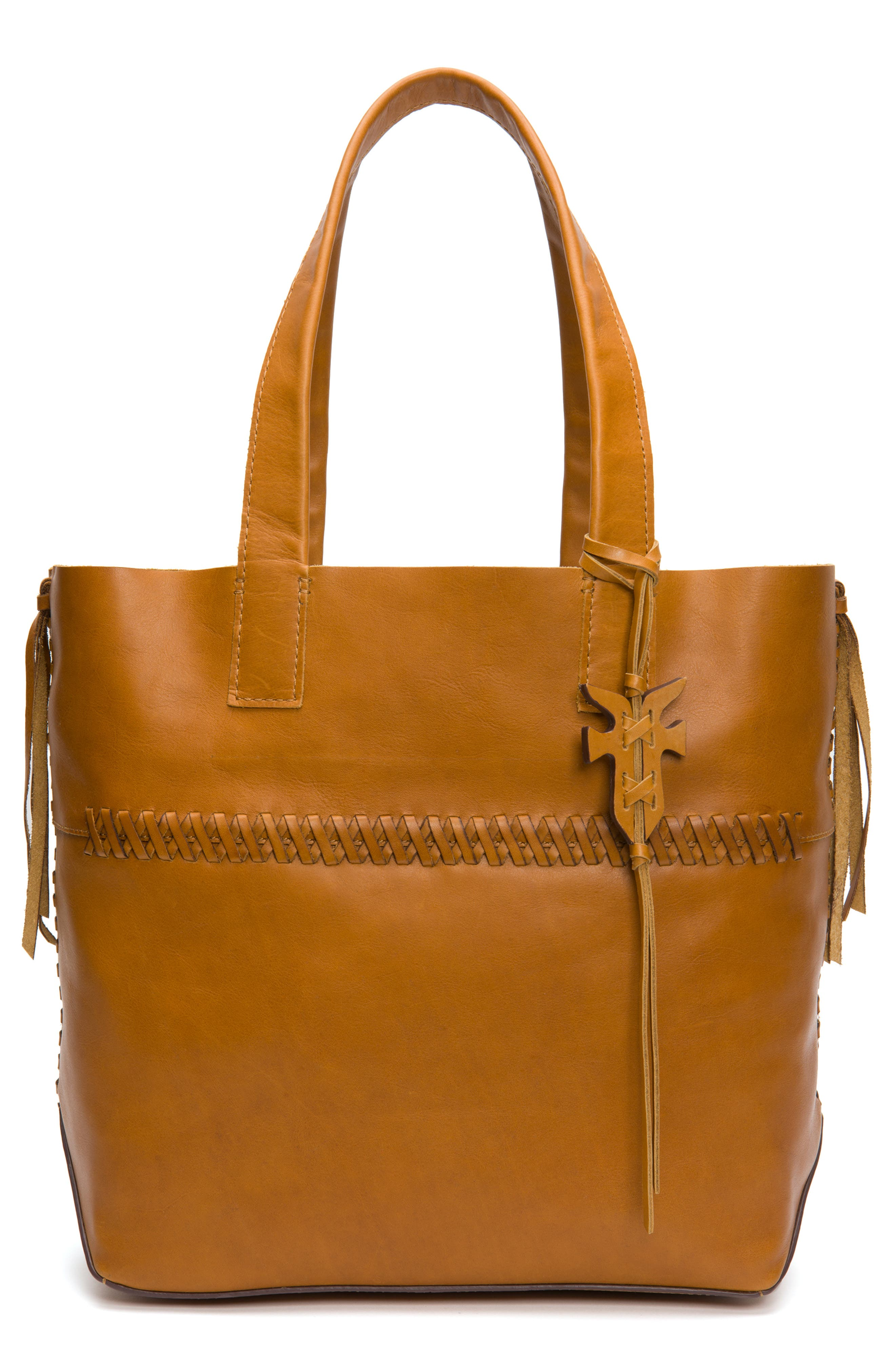 CARSON WHIPSTITCH CALFSKIN LEATHER TOTE - BROWN