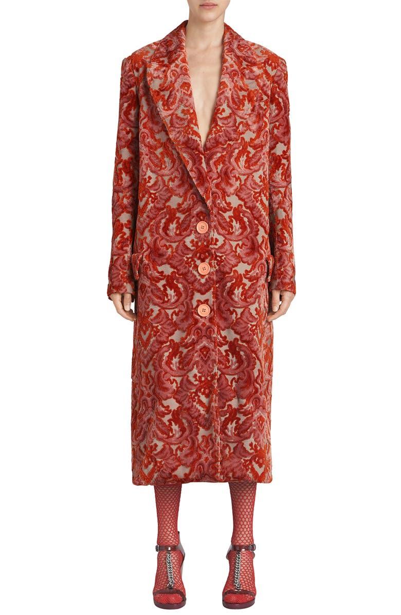 Damask Velvet Jacquard Coat