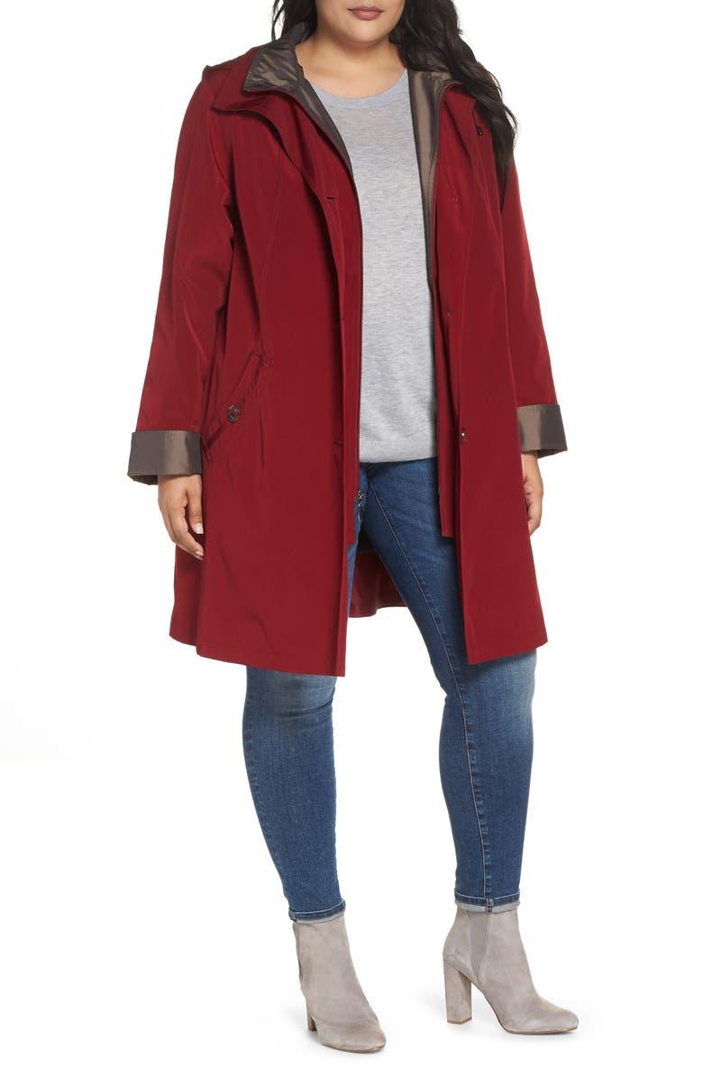 Two-Tone Long Silk Look Raincoat