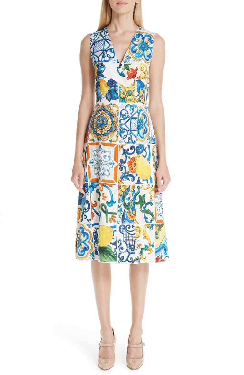 Tile Print Brocade Dress