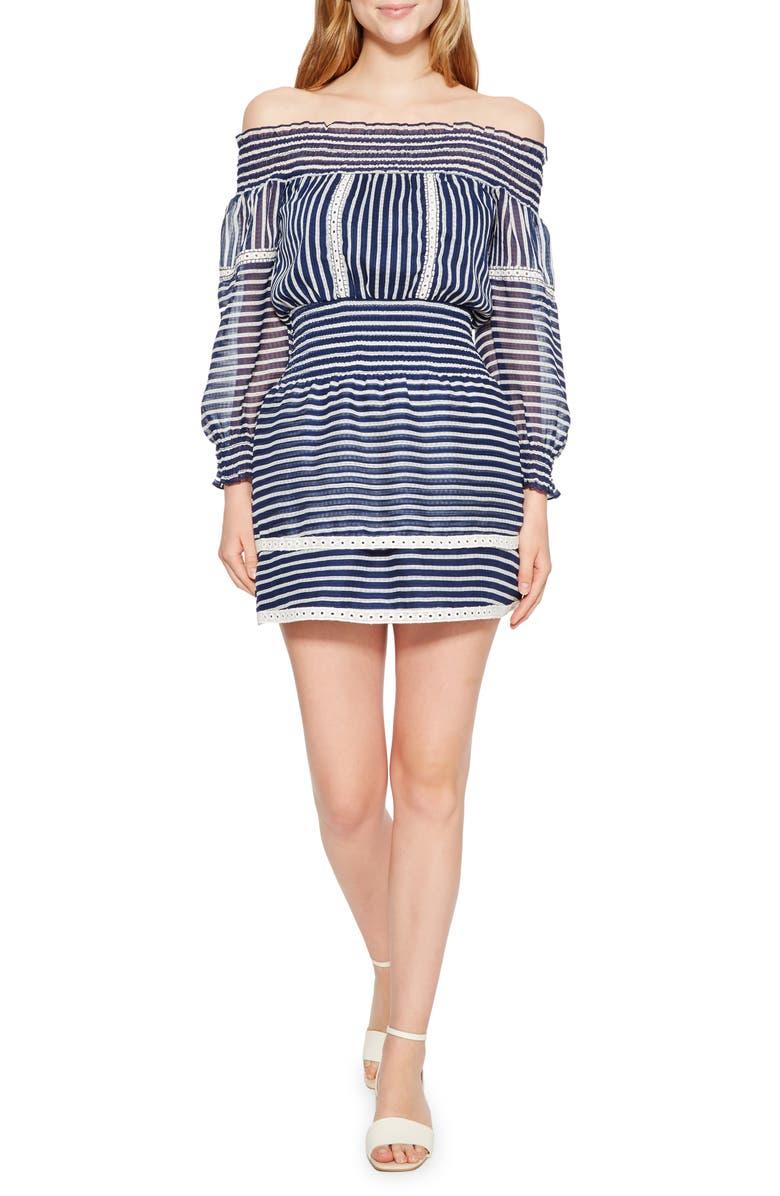 Carah Stripe Off the Shoulder Dress