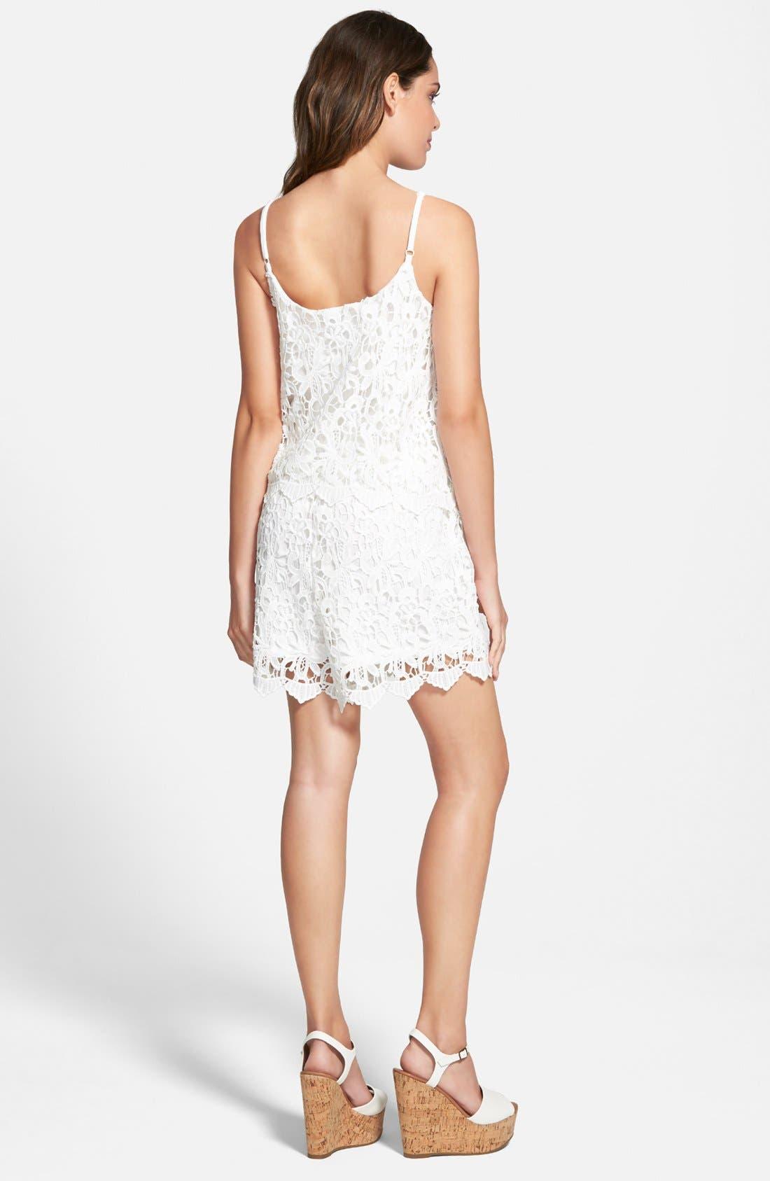 Alternate Image 2  - Leola Couture Lace Popover Romper (Juniors)