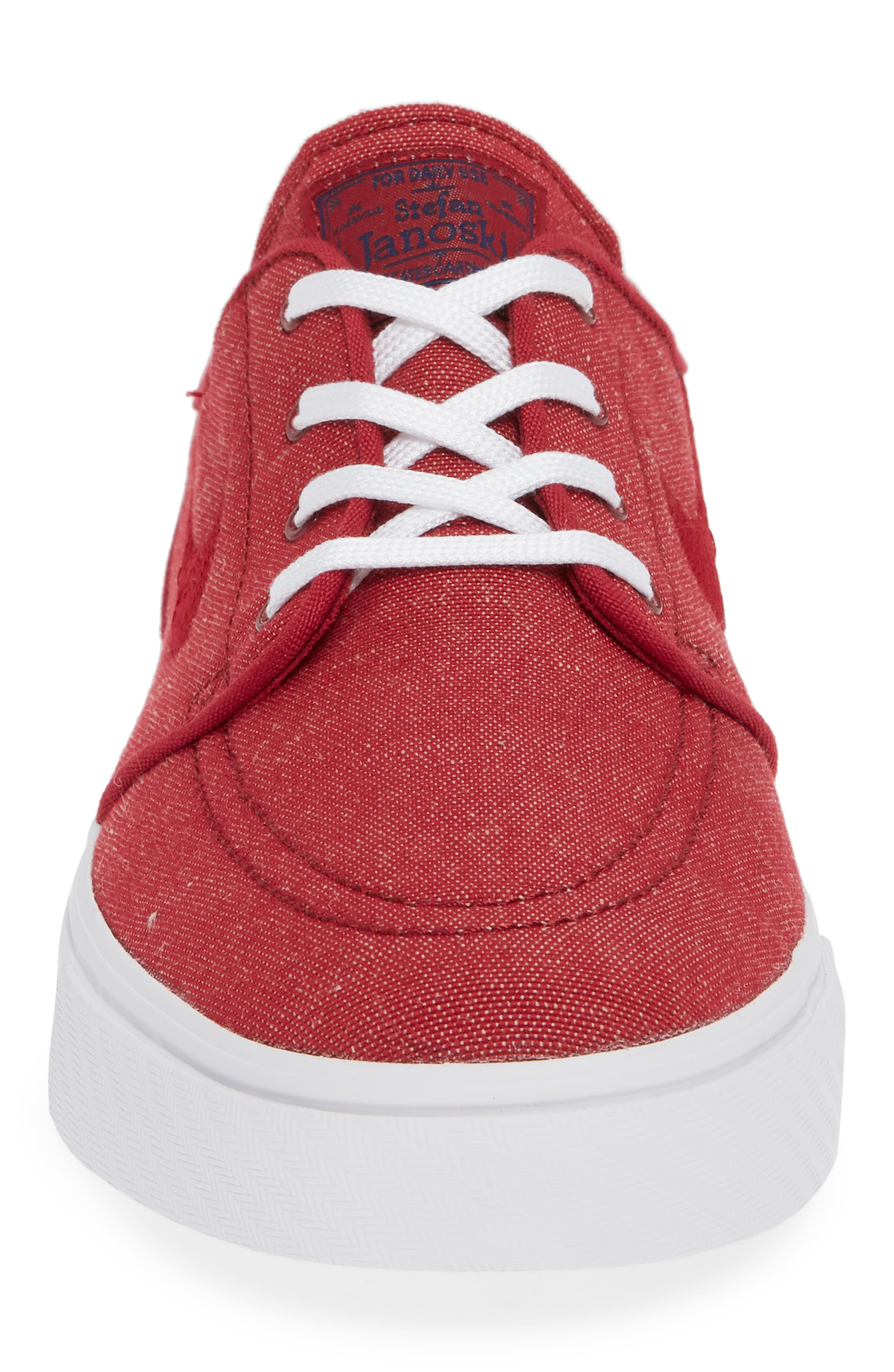 Zoom - Stefan Janoski SB Canvas Skate Shoe,                             Alternate thumbnail 4, color,                             Red Crush/ White
