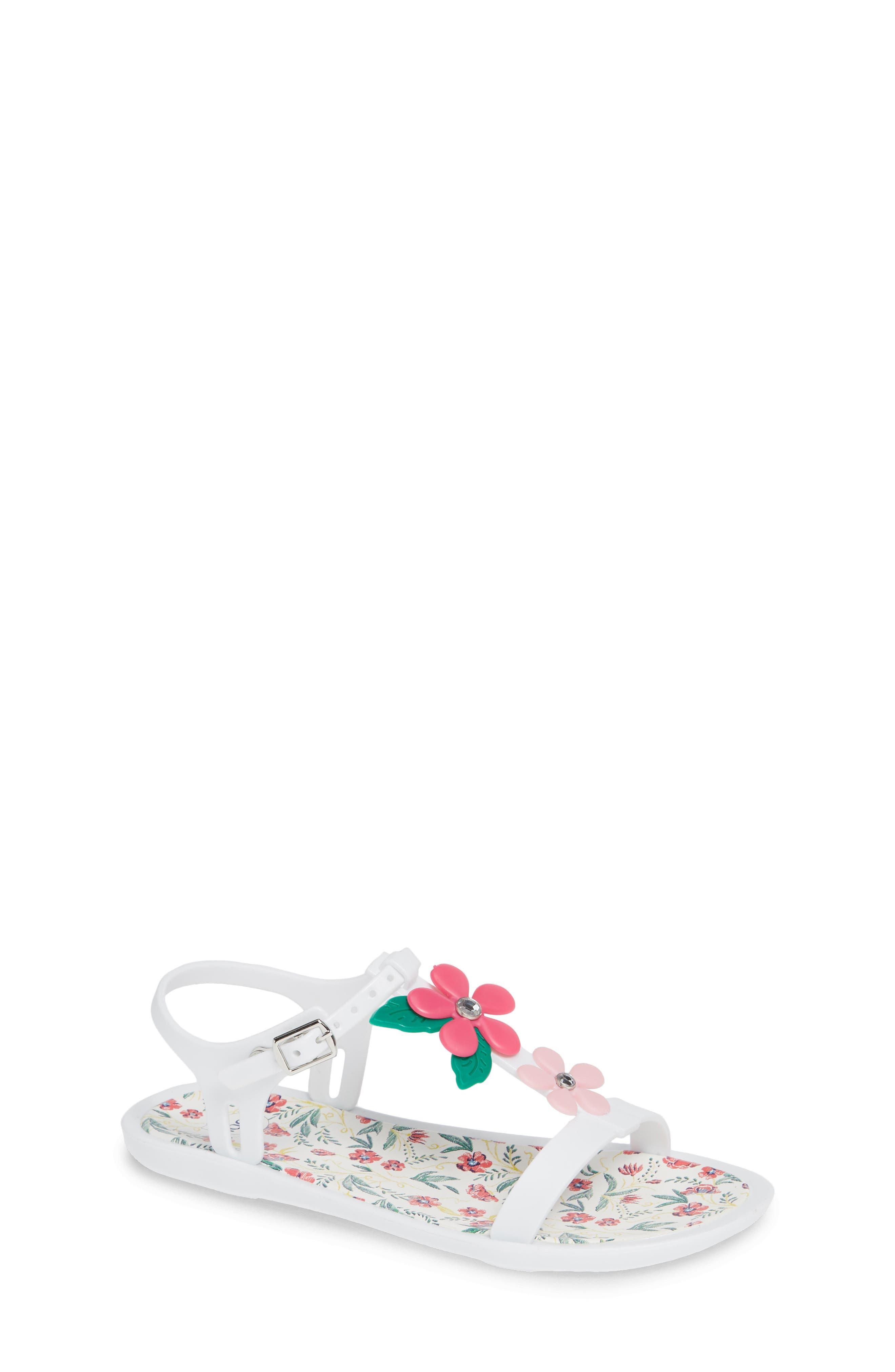 Tricia Floral T-Strap Sandal,                             Main thumbnail 1, color,                             White