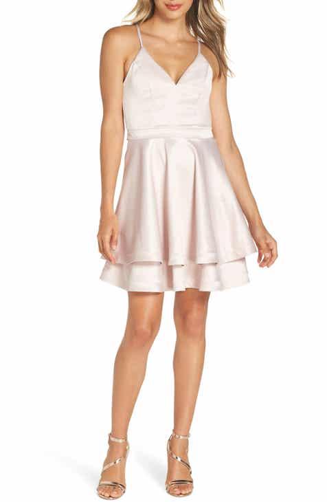 bac60f2eb404 Sequin Hearts Crochet Back Satin Party Dress