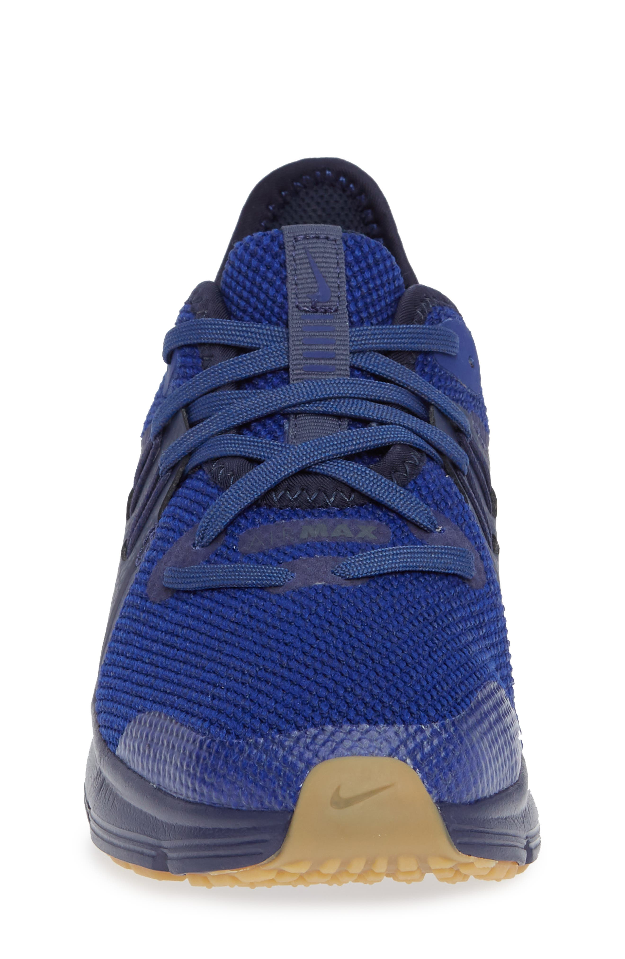 Air Max Sequent 3 GS Running Shoe,                             Alternate thumbnail 4, color,                             Obsidian/ Blue/ Indigo