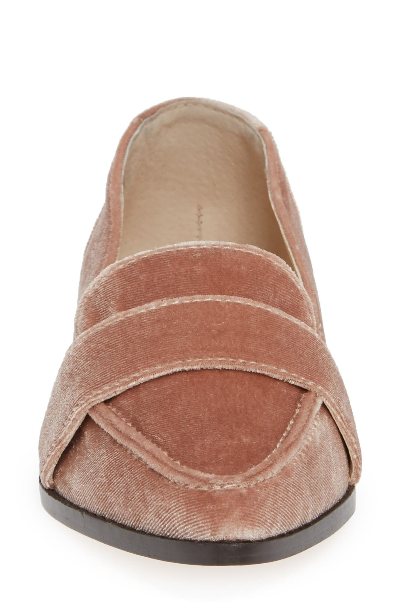 Edie Pointy Toe Loafer,                             Alternate thumbnail 6, color,                             Moonlight Velvet