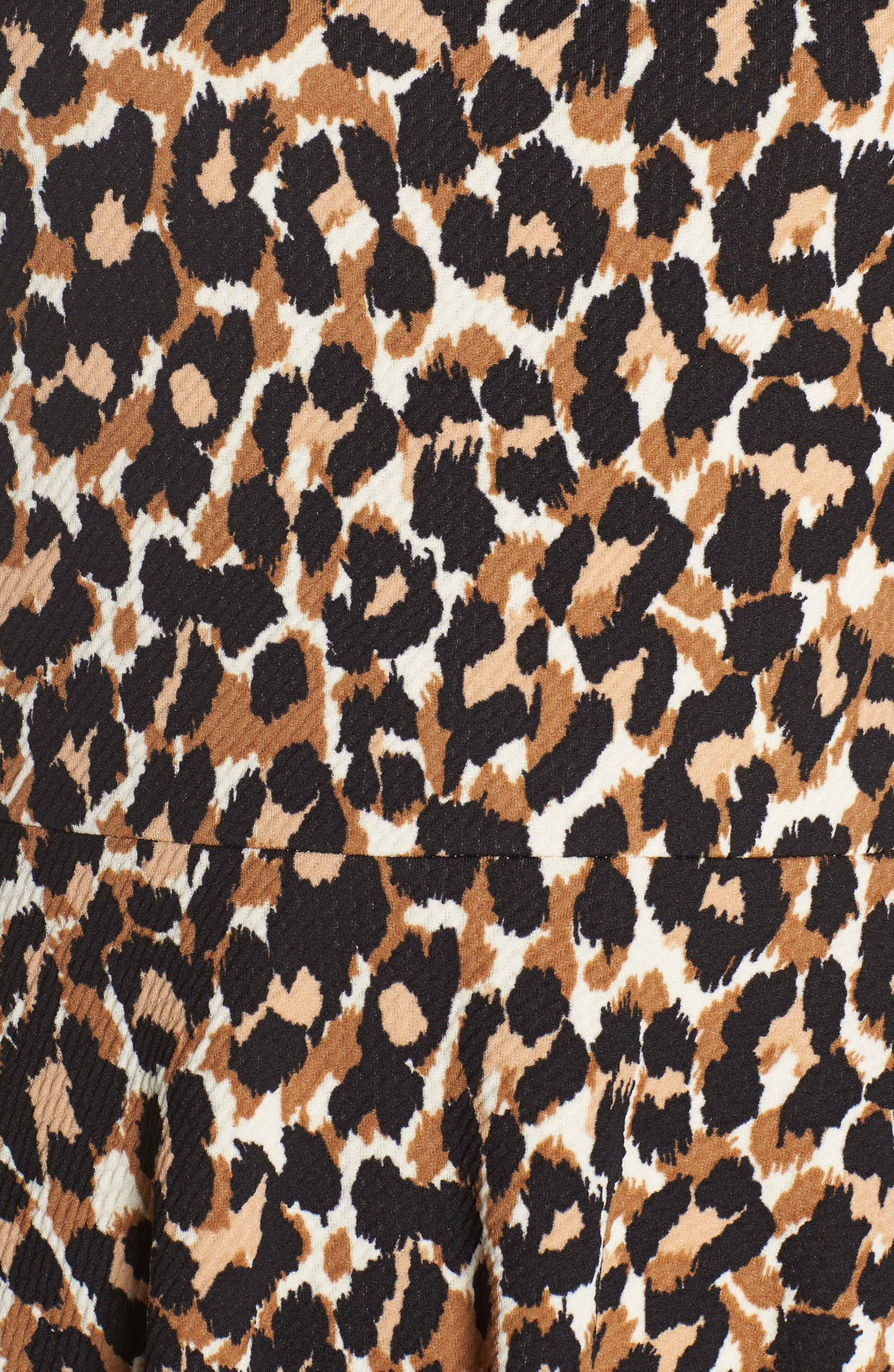 Ava Fit & Flare Dress,                             Alternate thumbnail 4, color,                             Leo